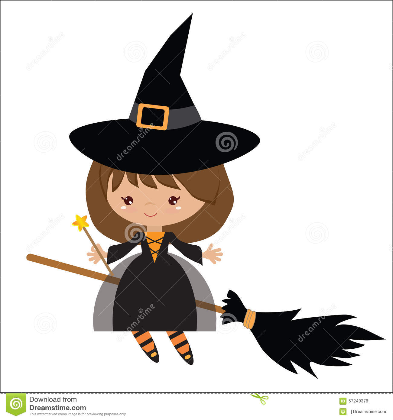 cute witch on broom vector illustration stock vector