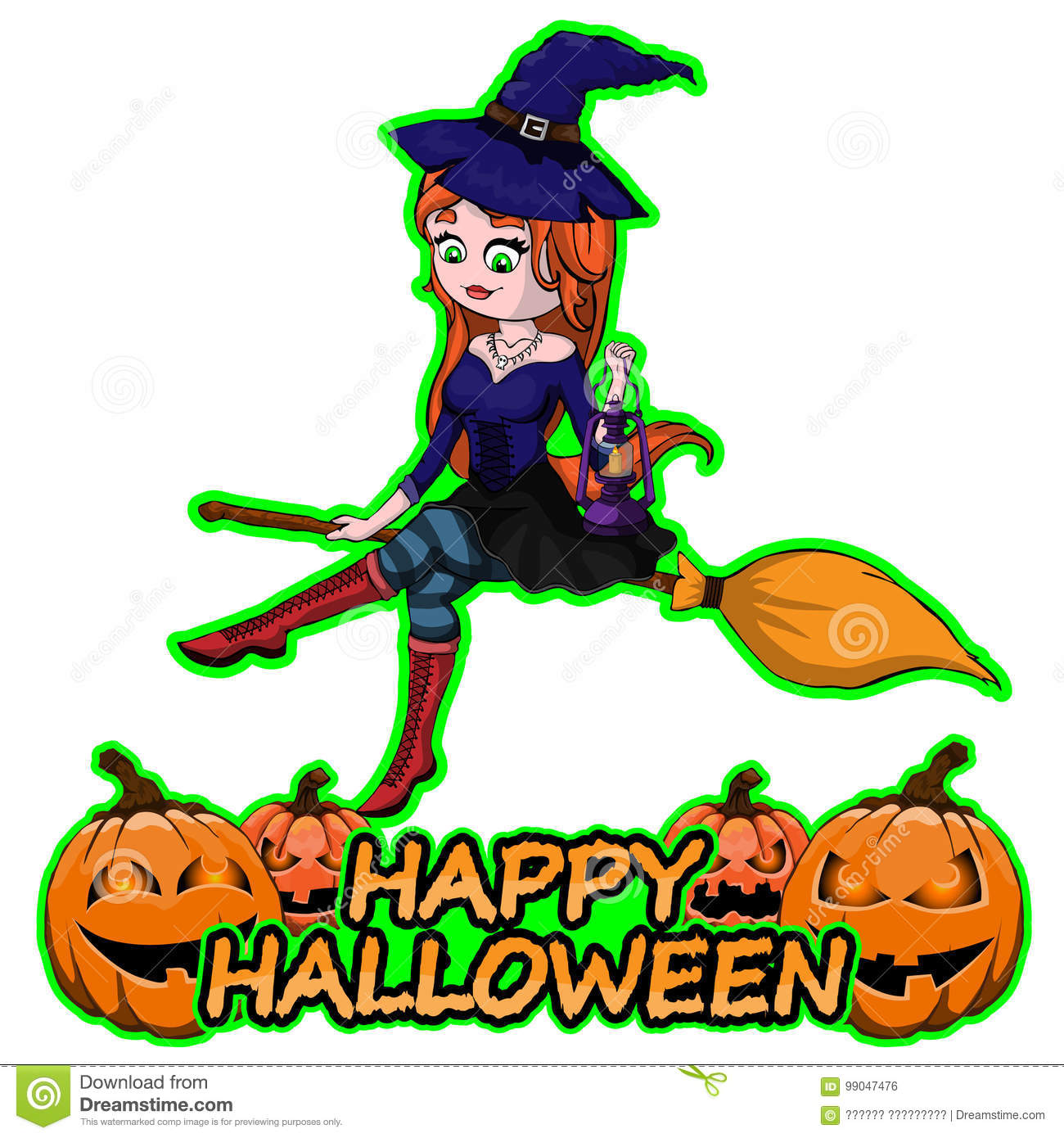 Cute Witch On Broom Wishes Happy Halloween On White Isolated Background.  Royalty Free Vector