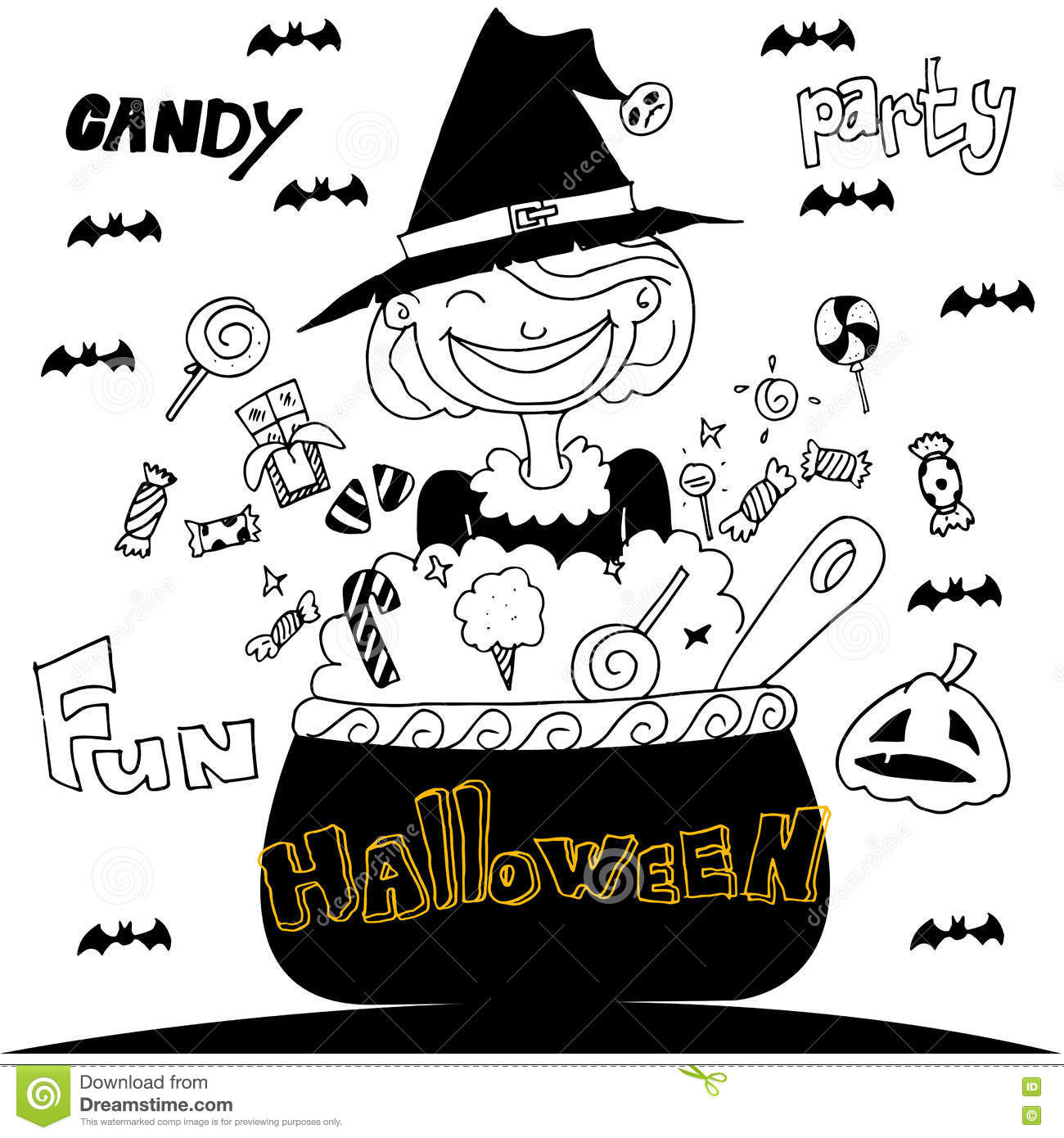 cute witch halloween with hand draw stock vector illustration of