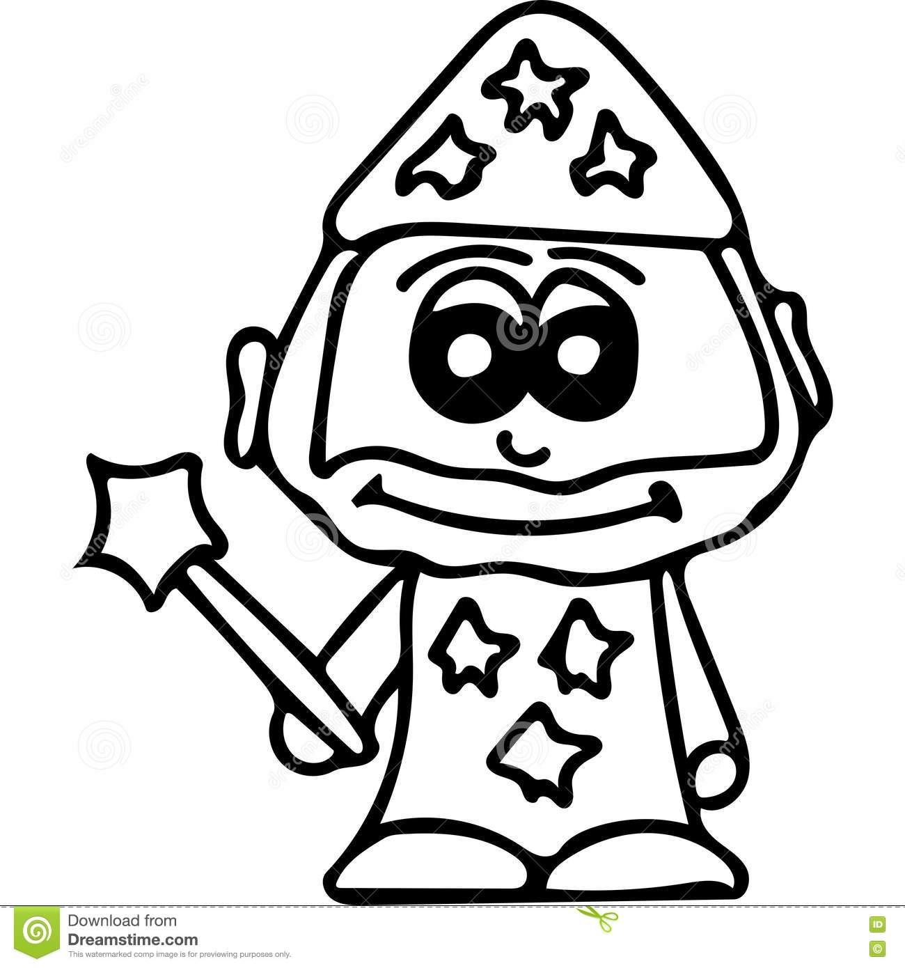 Cute Wizard Kids Coloring Page Stock Illustration - Illustration of ...