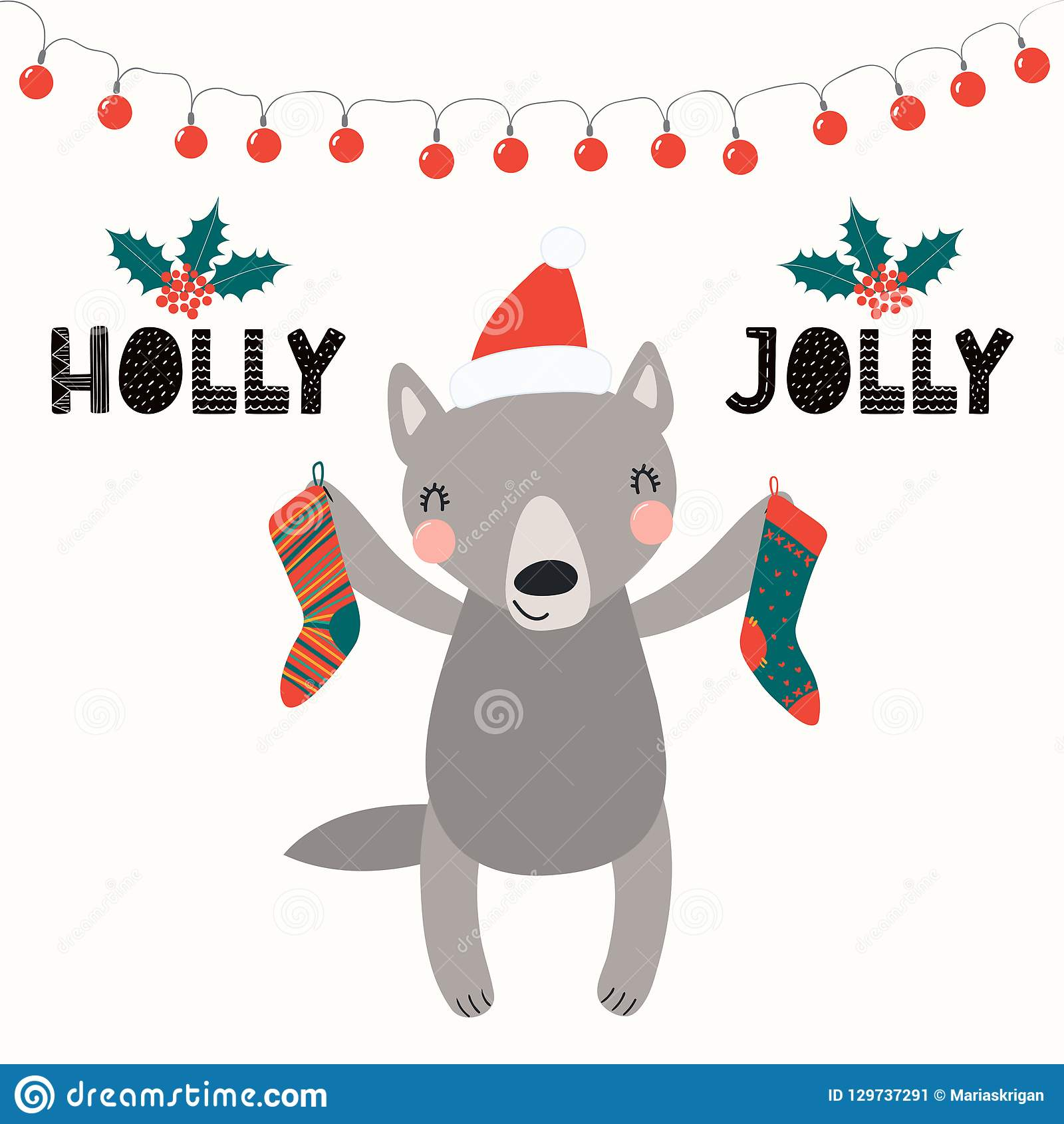 Christmas Wolf.Cute Wolf Christmas Card Stock Vector Illustration Of