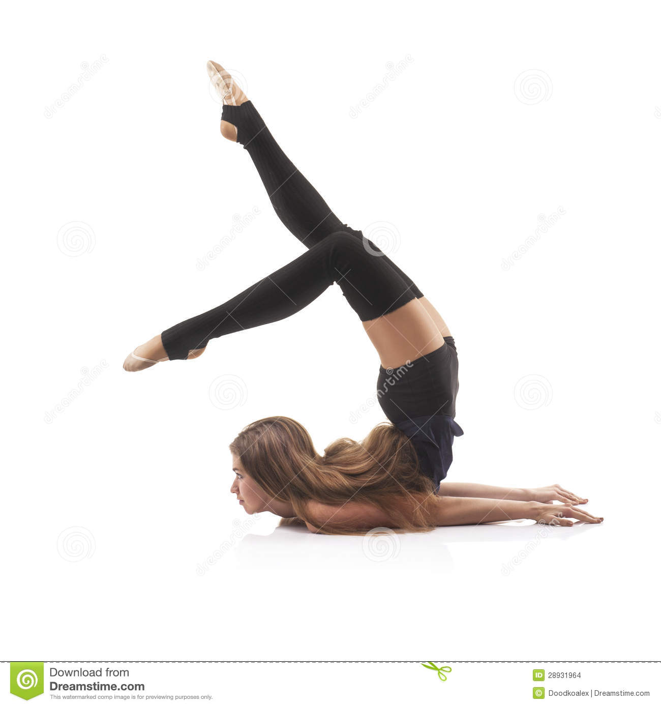 Cute Woman Gymnast On White Background Stock Images ...