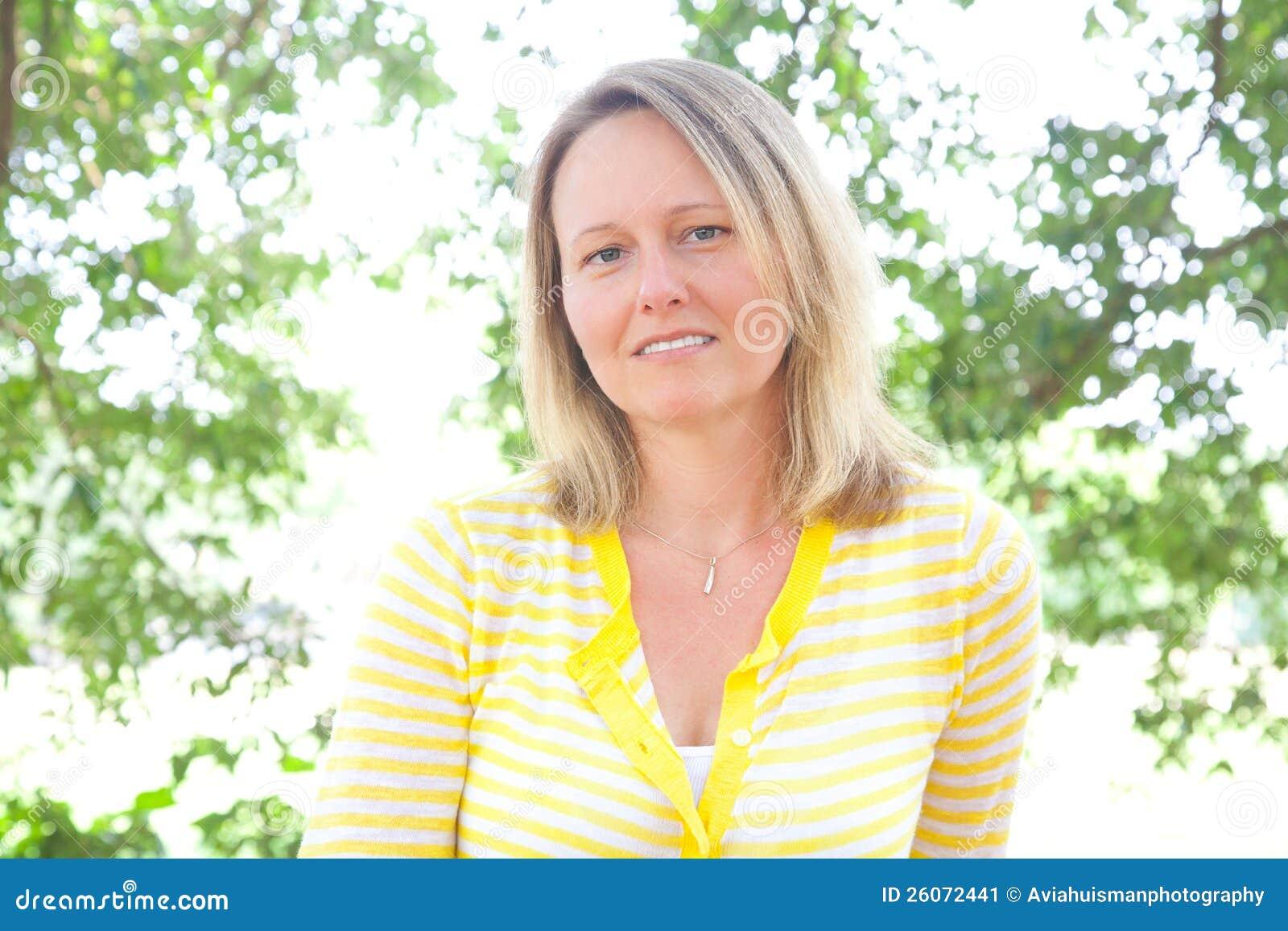 Cute Woman Yellow Sweater Outdoors