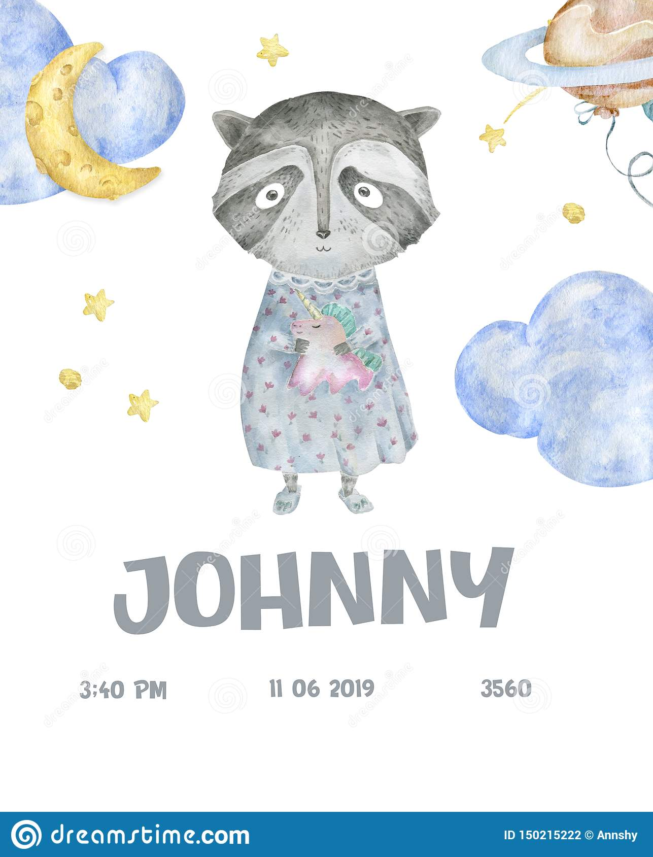 Cute woodland animals cartoon illustration for baby shower card template. Greeting, born, invite design card watercolor