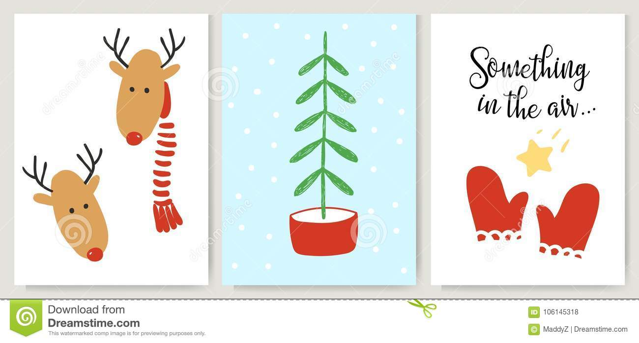 Cute Xmas Cards Posters Letterings In Cartoon Style Deer