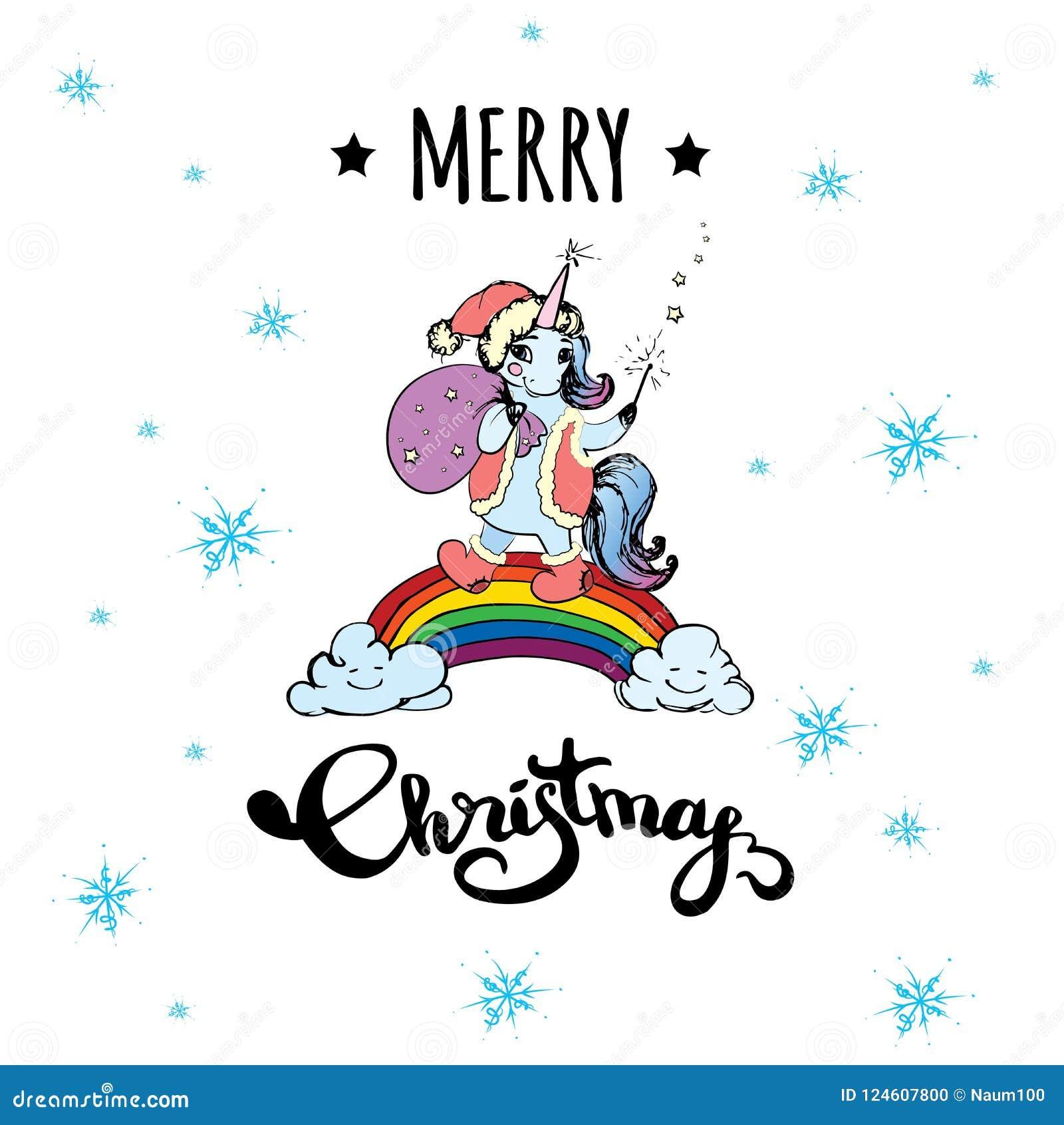 download cute xmas unicorn standing on rainbow stock vector illustration of hand felt - Christmas Unicorn