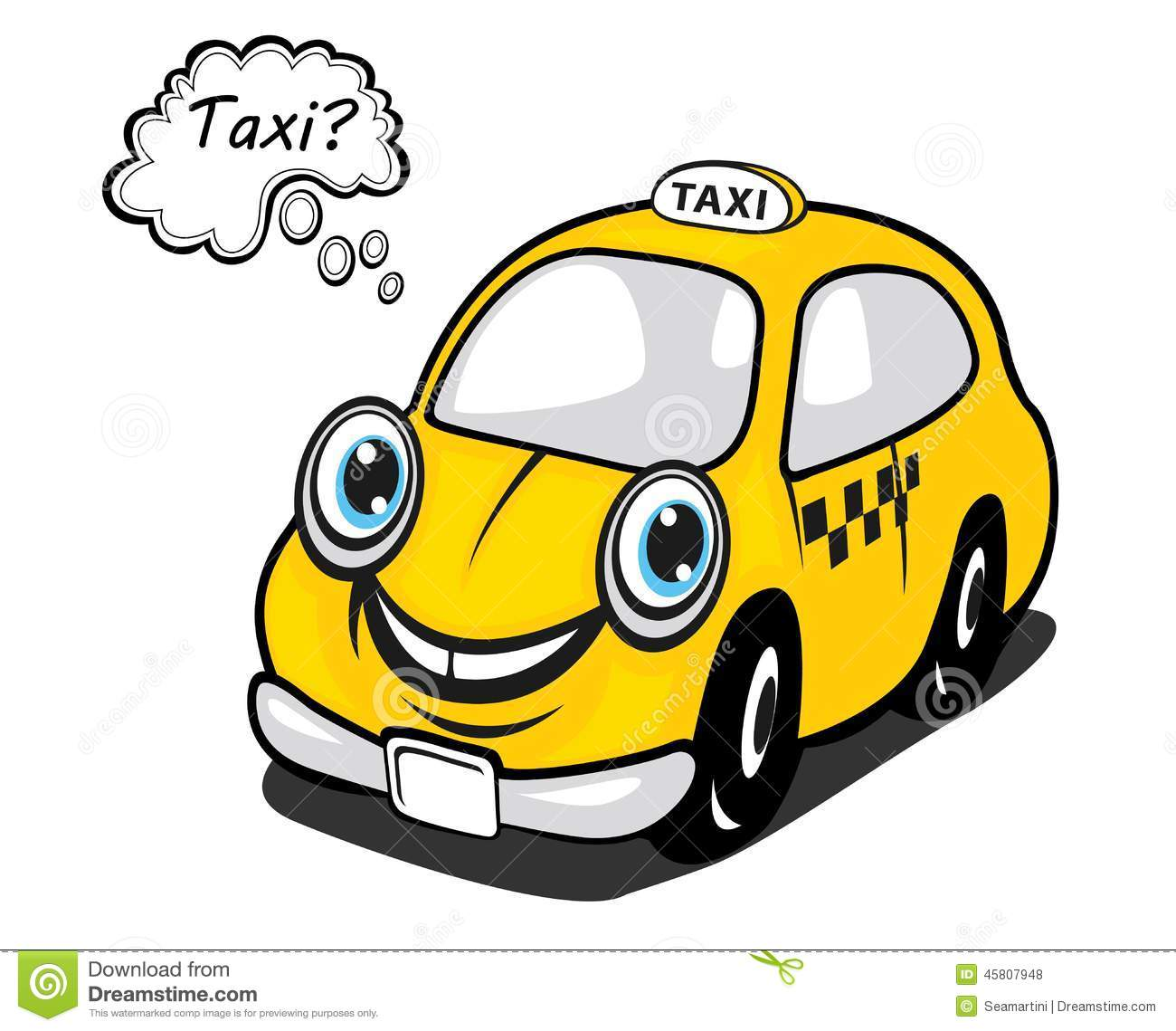 Royalty Free Stock Photos: Cute yellow cartoon taxi with a thought ... Smiling Dog And Cat