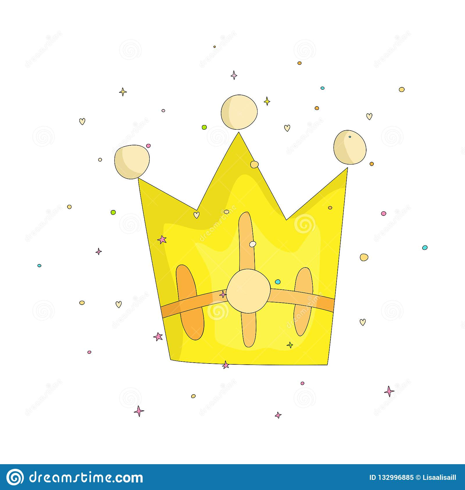 Cute Yellow Crown With Gems Cartoon Icon Fun Cartoon Crown With Decoration Elements On Background Yellow Diadem For Stock Vector Illustration Of Funny Jewelry 132996885 Download free cartoon crown silhouettes vectors and other types of cartoon crown silhouettes graphics and clipart at freevector.com! dreamstime com