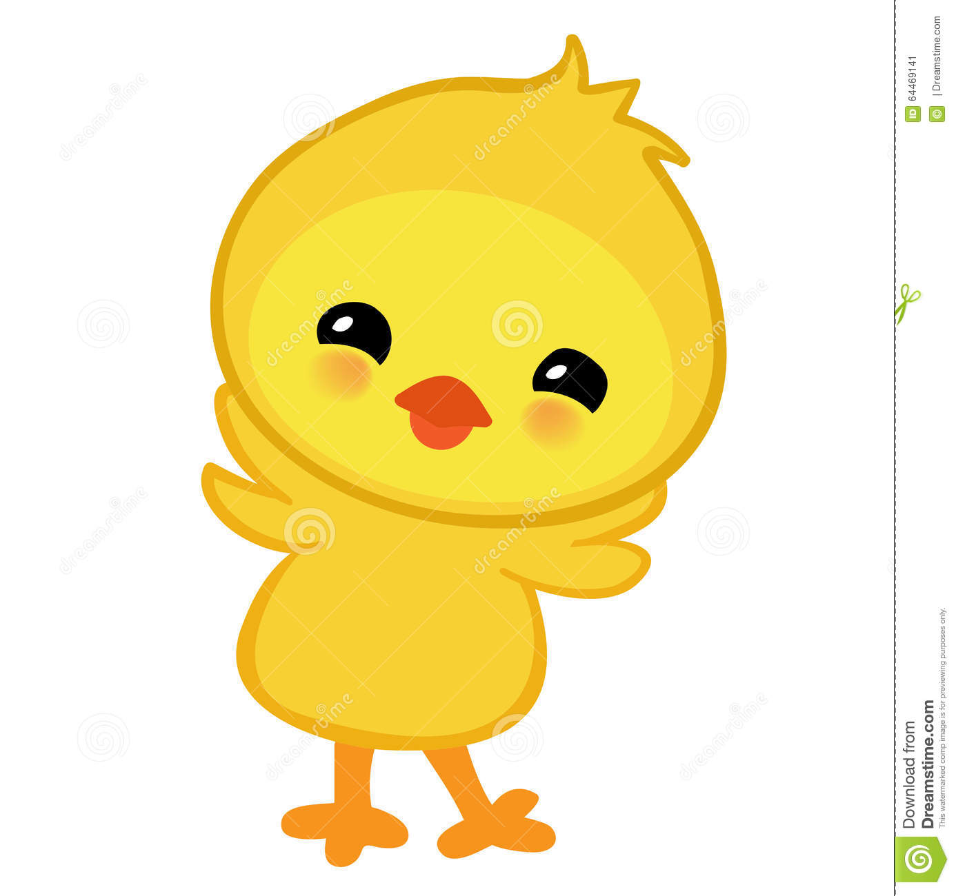 Cute Yellow Happy Easter Chicken Stock Vector Image 64469141