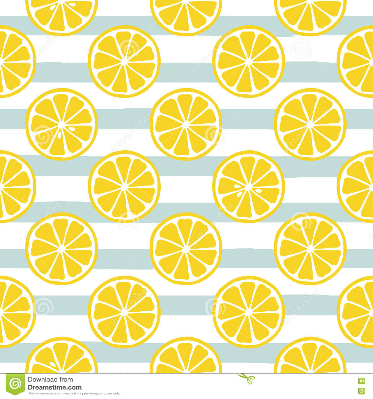 cute yellow lemon slices on striped blue background stock vector