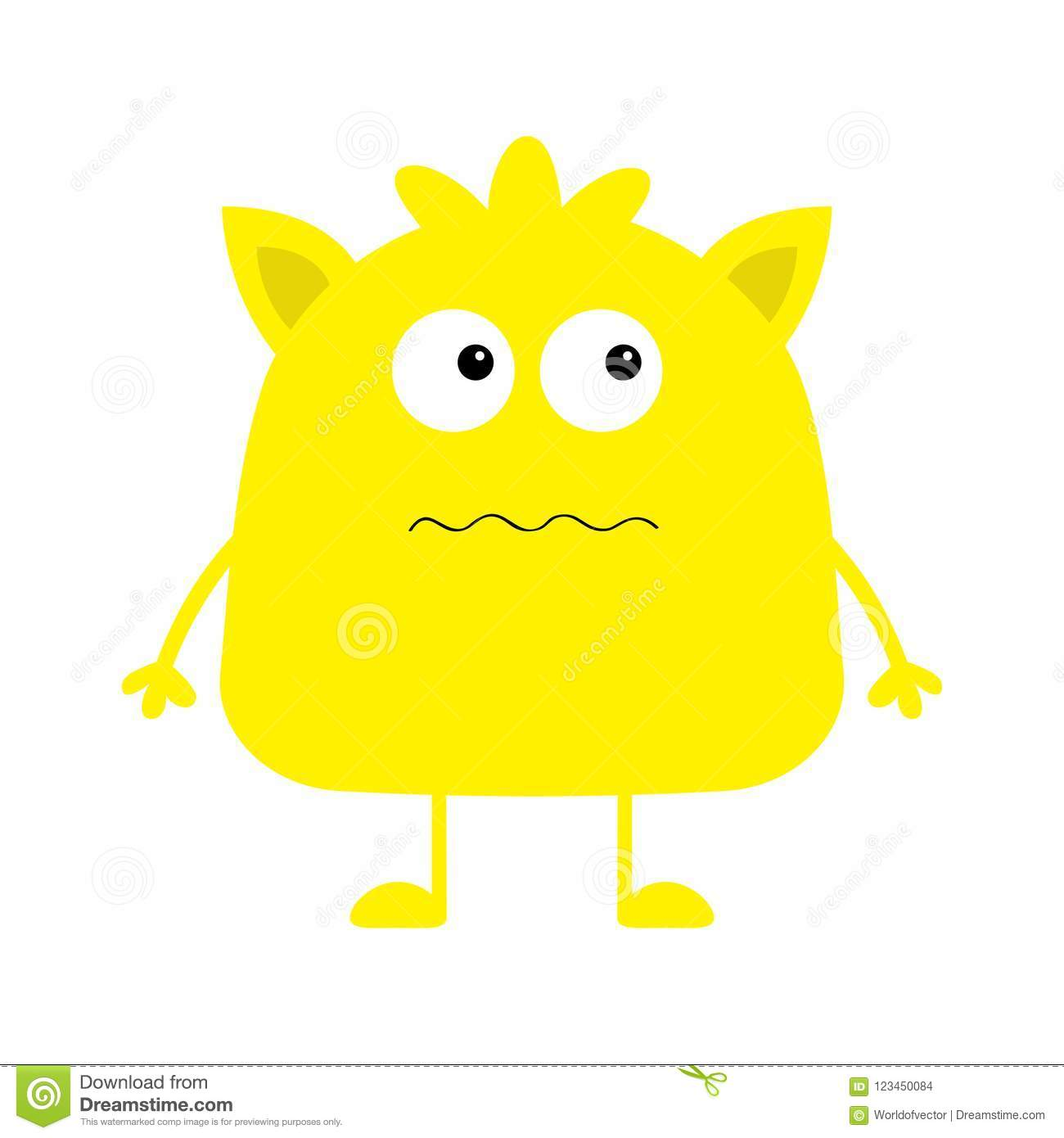 Cute Yellow Monster Icon Happy Halloween Cartoon Colorful Scary Funny Character Eyes Ears Mouth Hair Funny Baby Collection Stock Vector Illustration Of Halloween Looking 123450084
