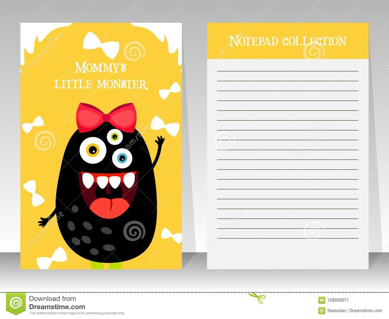 cute yellow notebook template with monster stock vector