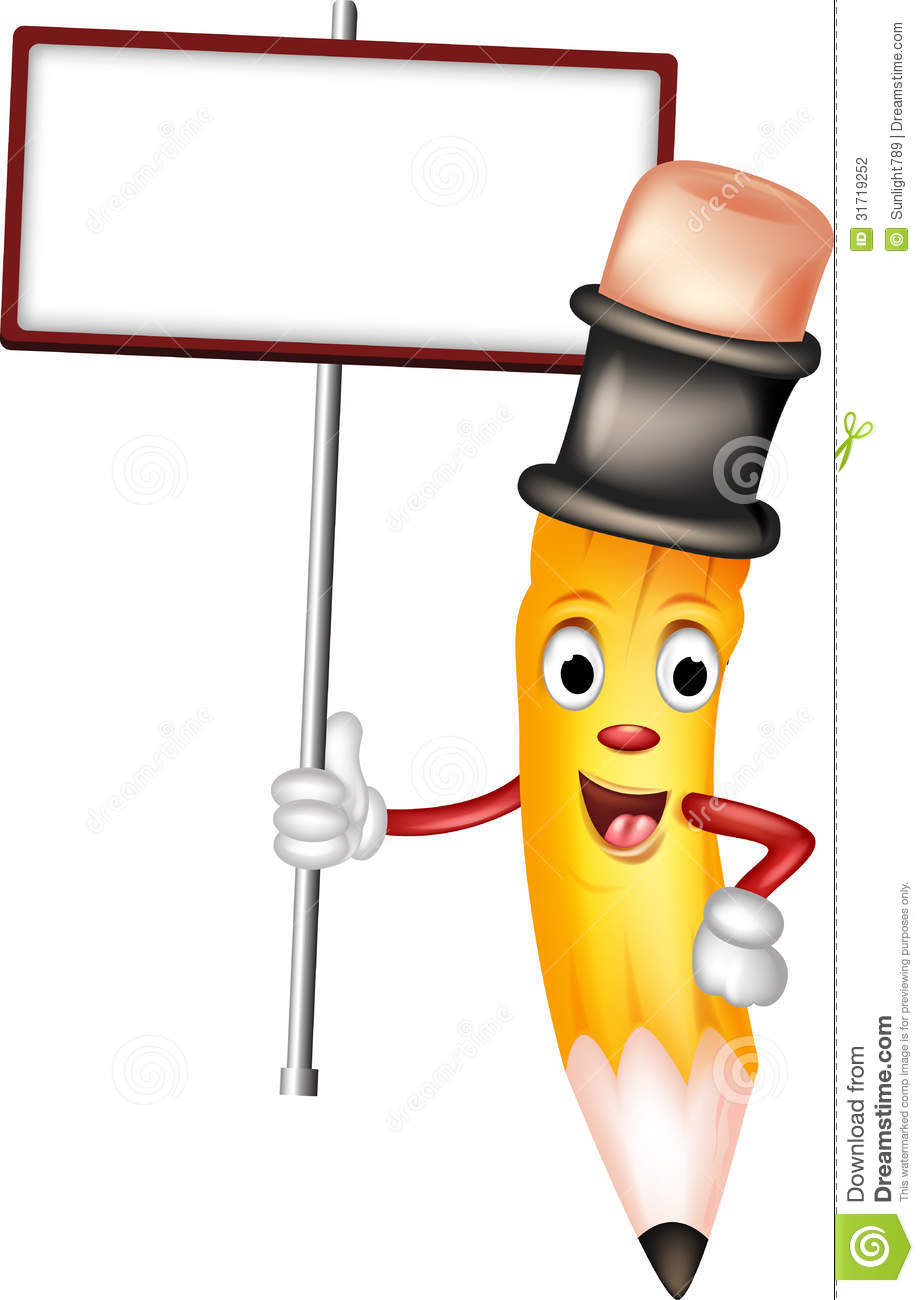 Cute Yellow Pencil Cartoon With Blank Sign Stock Photography - Image ...
