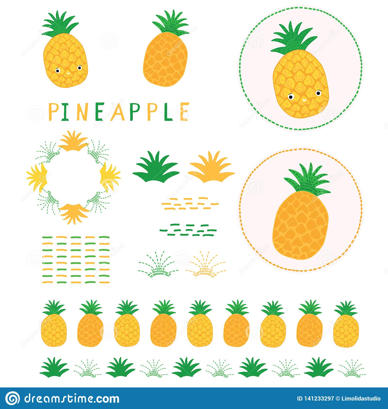 Cute Yellow Pineapple Vector Illustration Clipart Hand