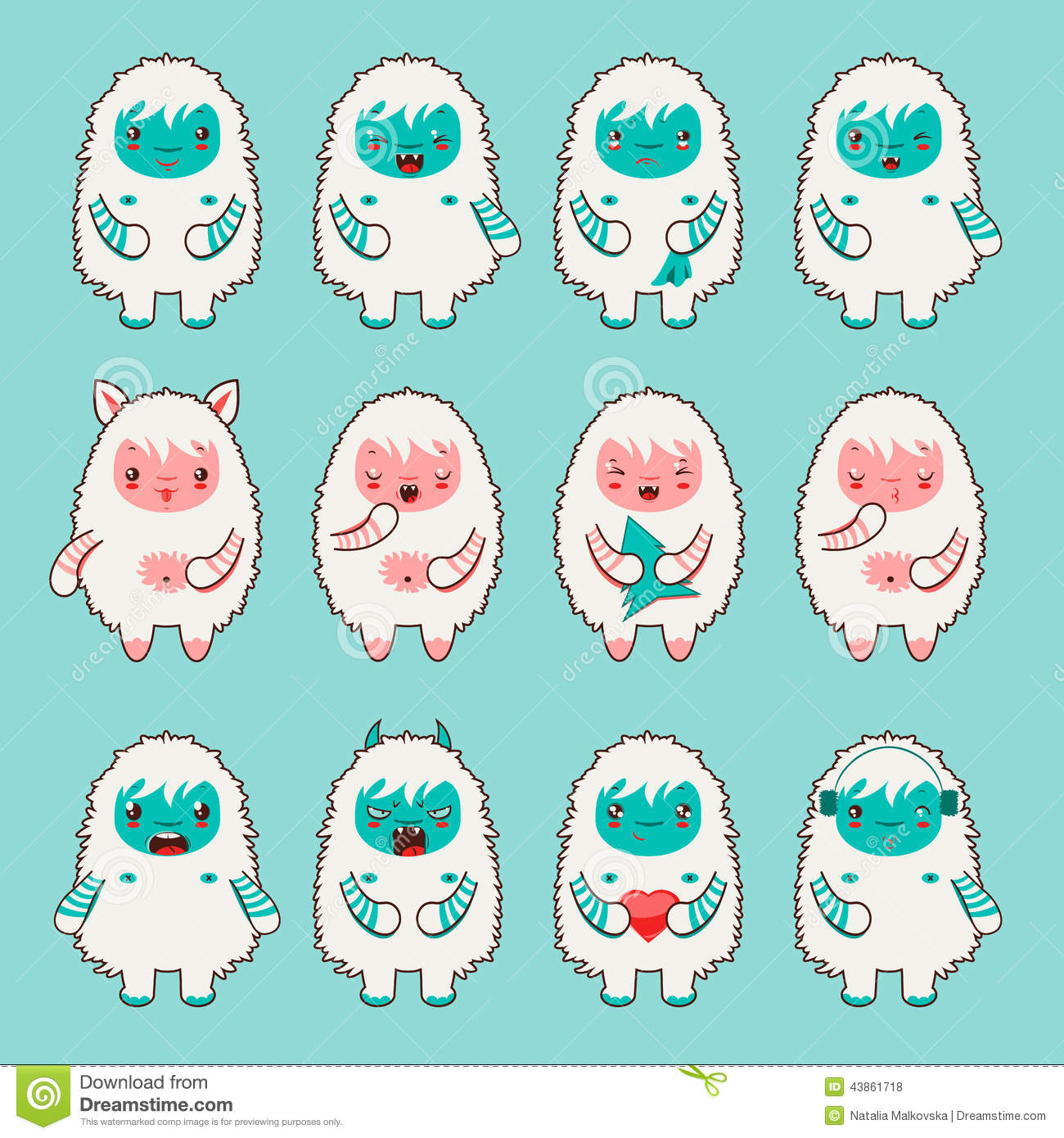 cute yeti emoticons flat style stock vector image 43861718 bigfoot clipart photo bigfoot clip art free