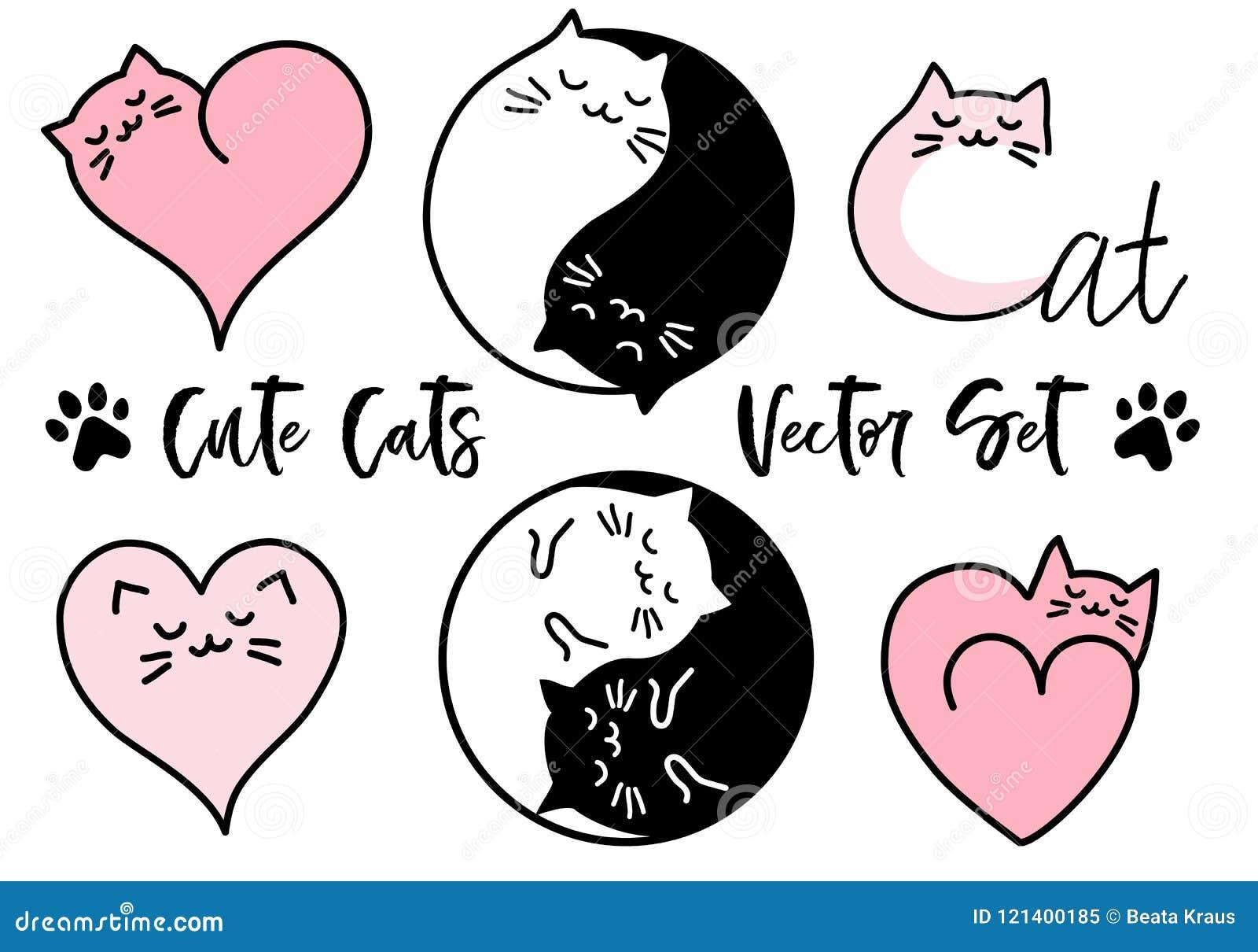 Cute yin yang cats, vector set