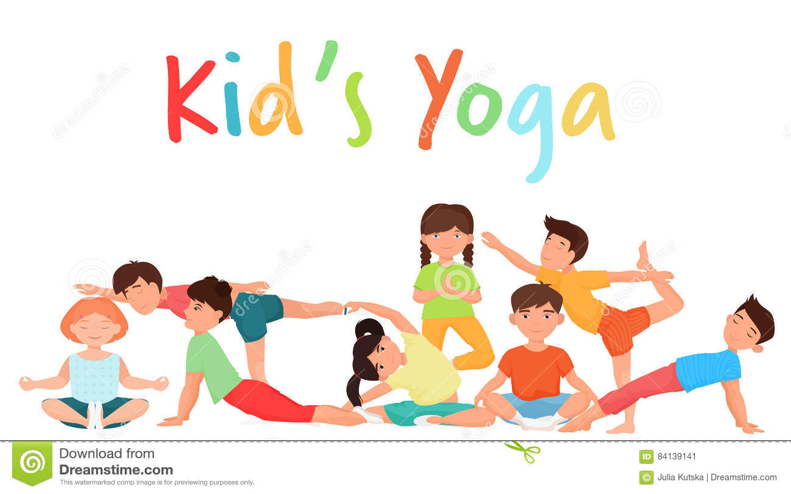 Cute Yoga Kids Team Group. Children Yoga Gymnastics ...