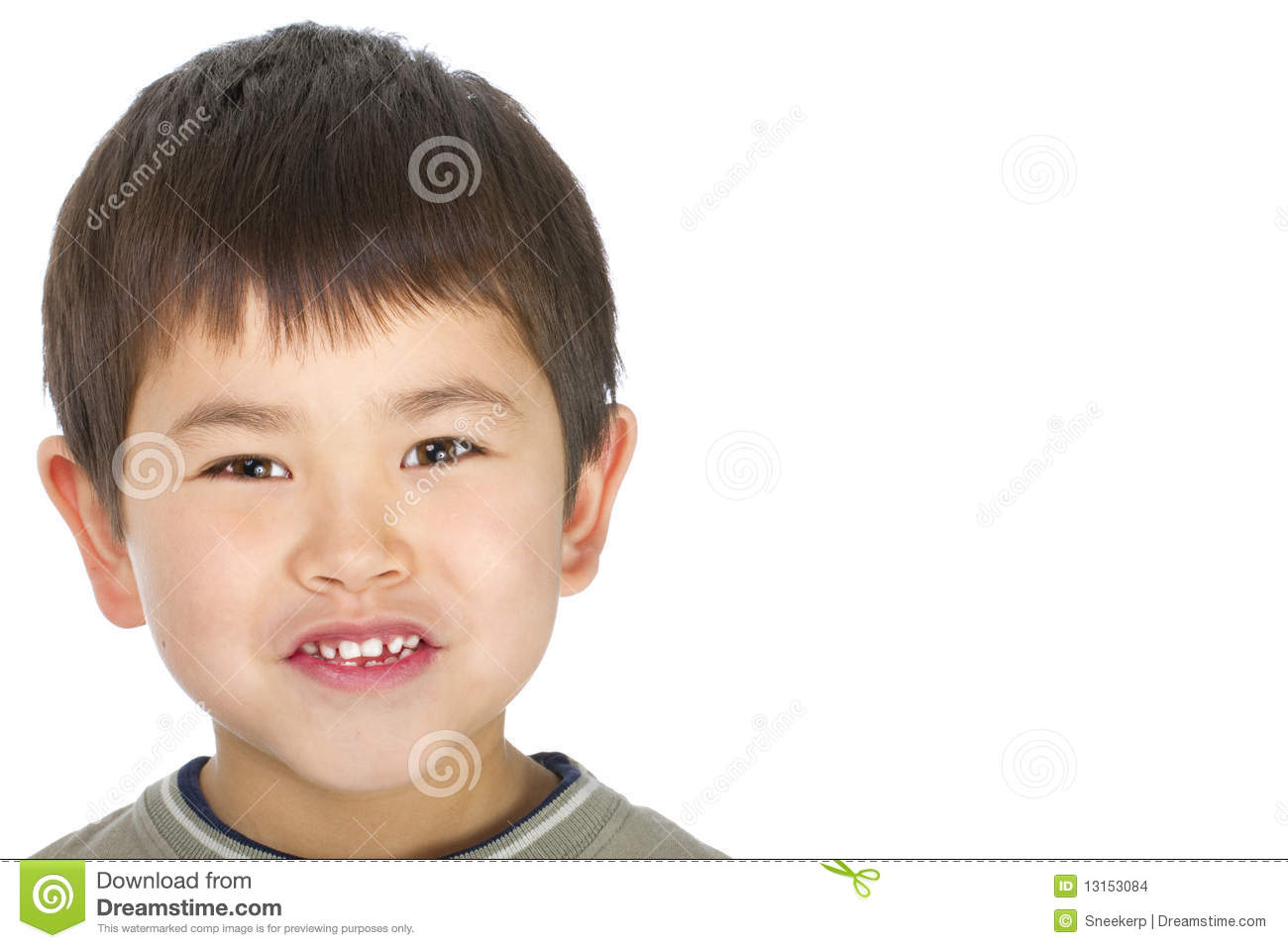 Cute young asian boy with great smile isolated