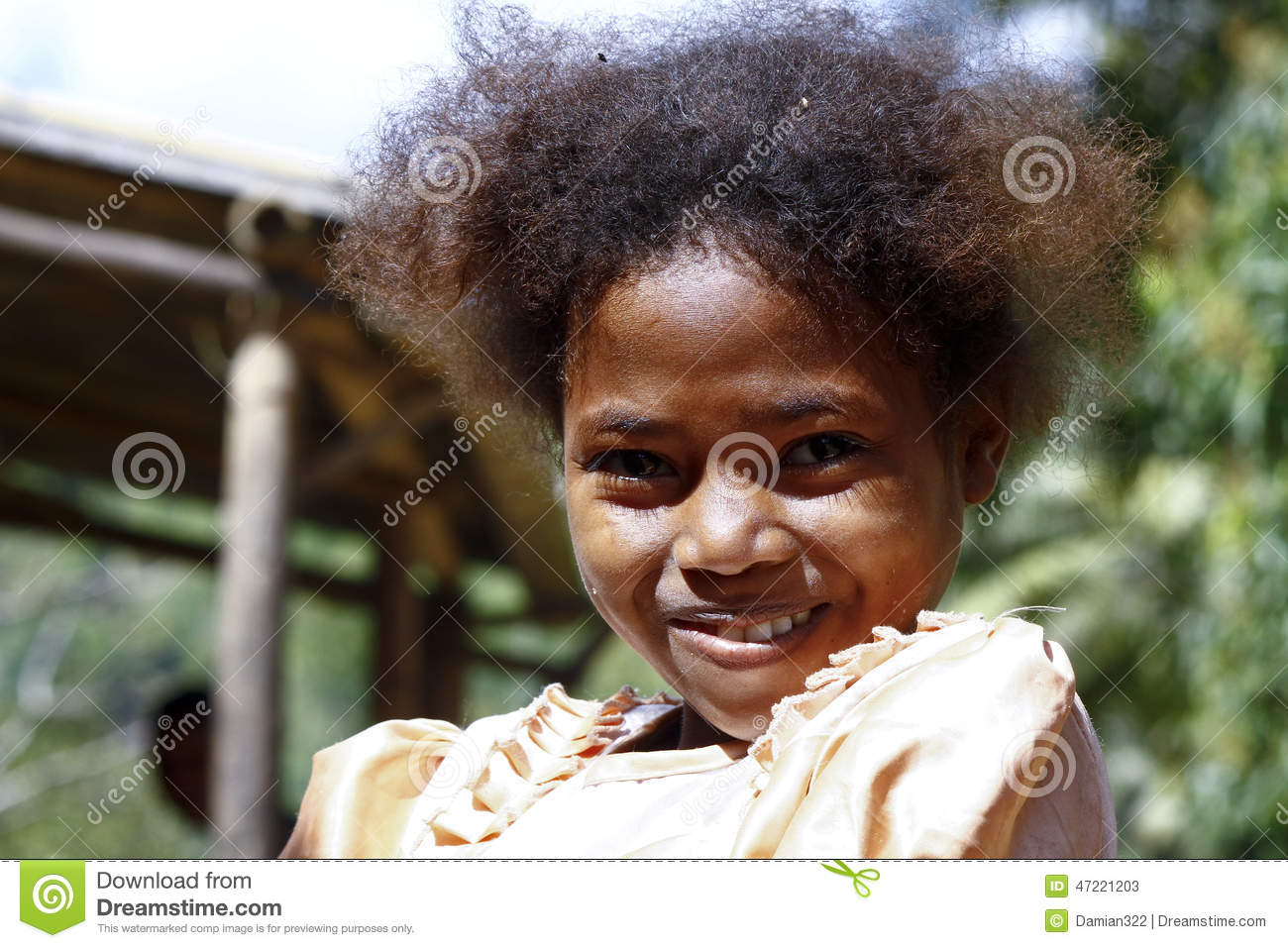 Cute Young Black African Girl Poor Child Madagascar