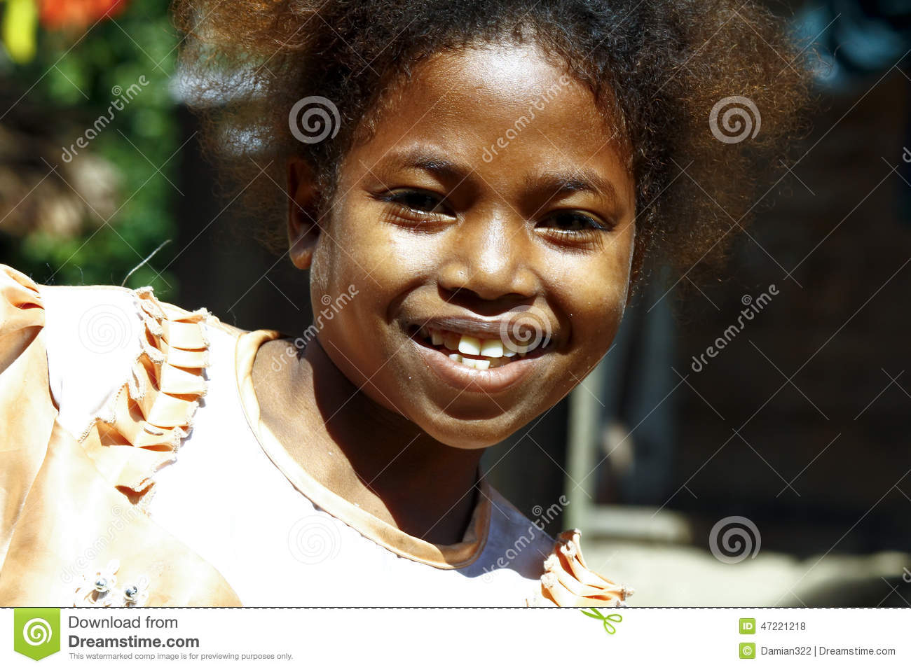 Cute young black African girl - poor child