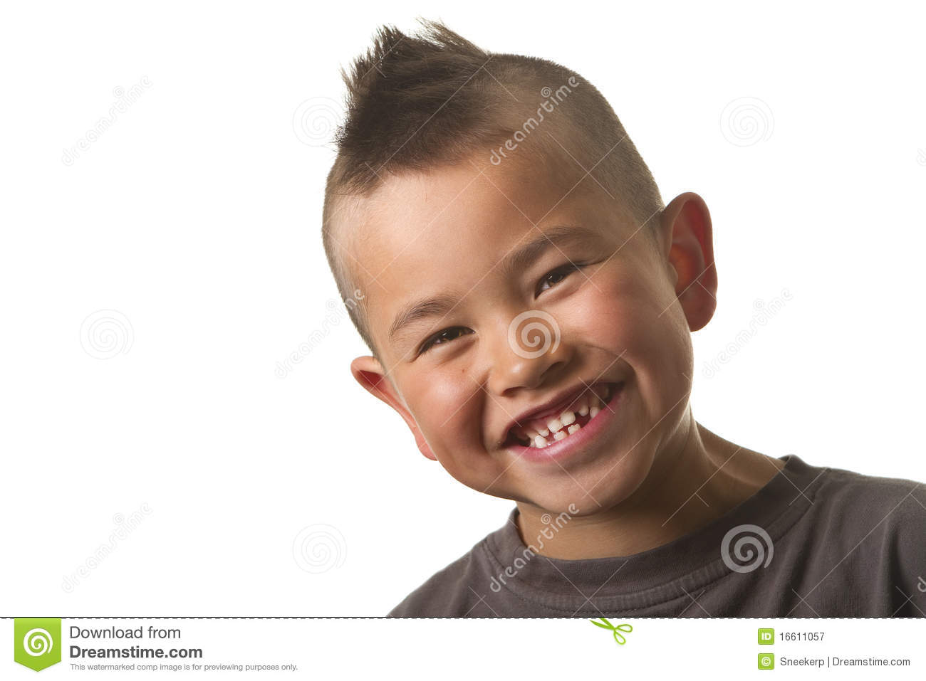Cute Young Boy With Funny Mohawk Haircut Isolated Stock Image