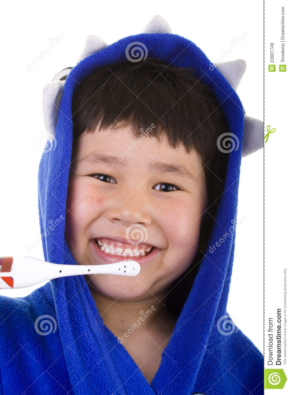 41031a944a Cute young boy with great smile standing in his bath robe isolated brushin  his teeth