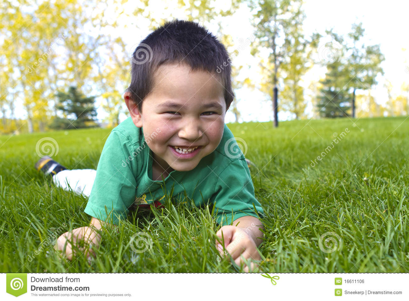 Cute young boy with great smile laying in grass
