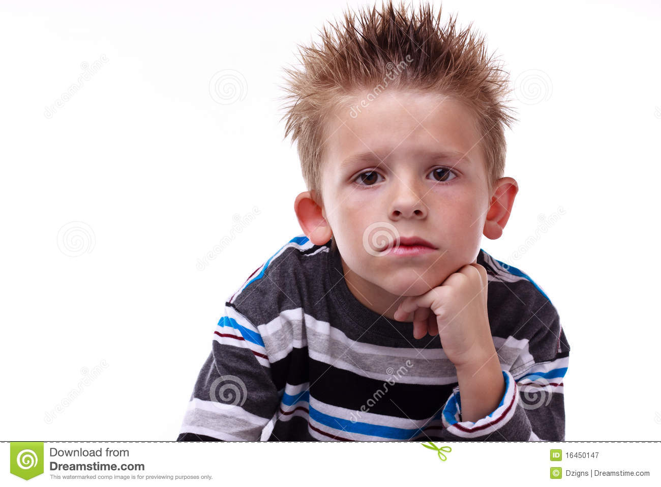 Cute Young Boy Looking Bored Stock Image