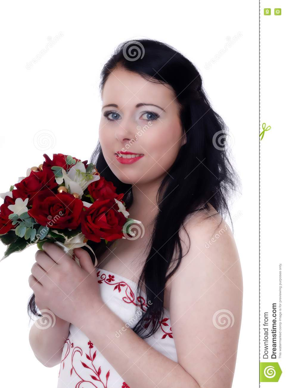 Young bride in white and red wedding dress isolated against white