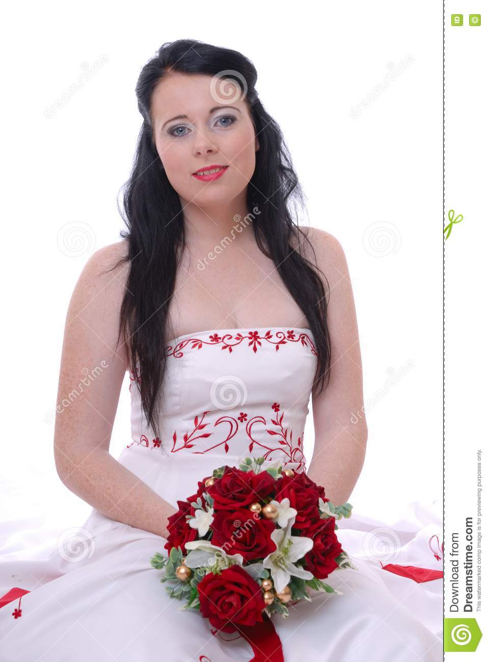 Cute Young Bride In White And Red Wedding Dress Stock Photos Image