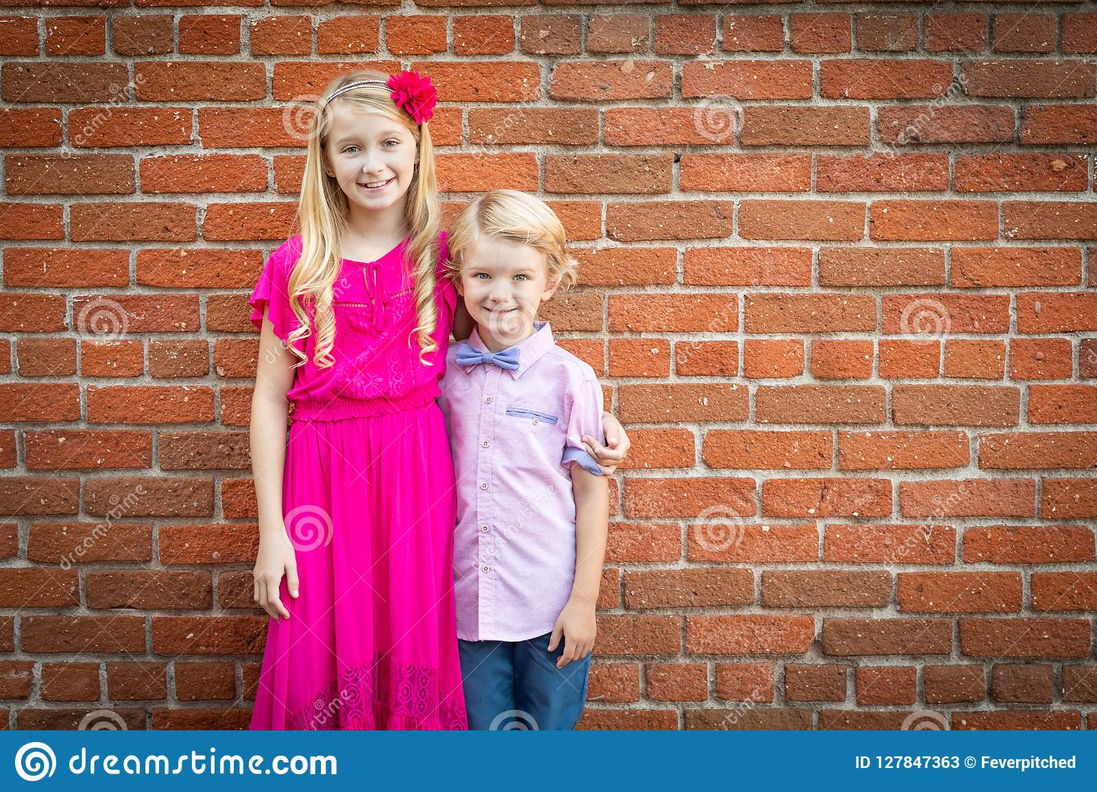 Portrait Of Brother With Young Sister Stock Image - Image