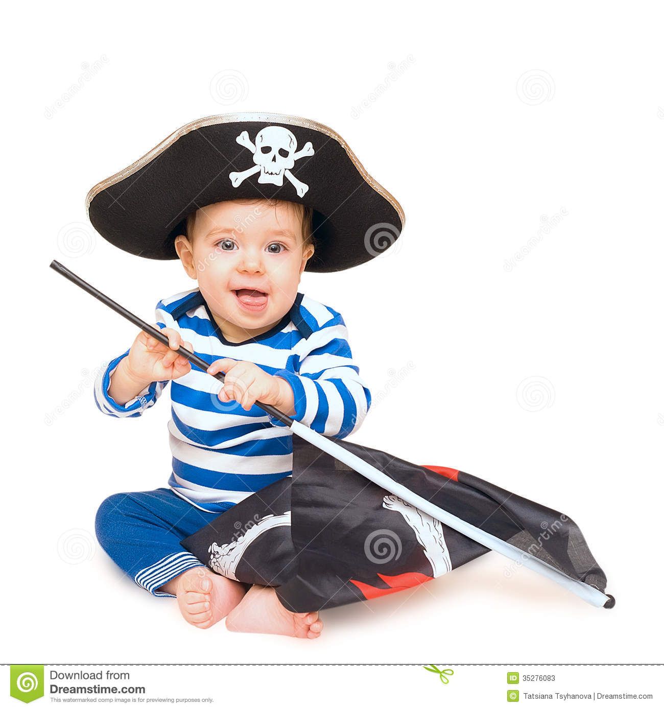 Cute young child dressed as pirate over white stock photos image