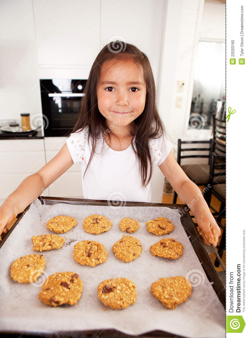 Cute Young Girl Baking Cookies Stock Photo Image 22020160