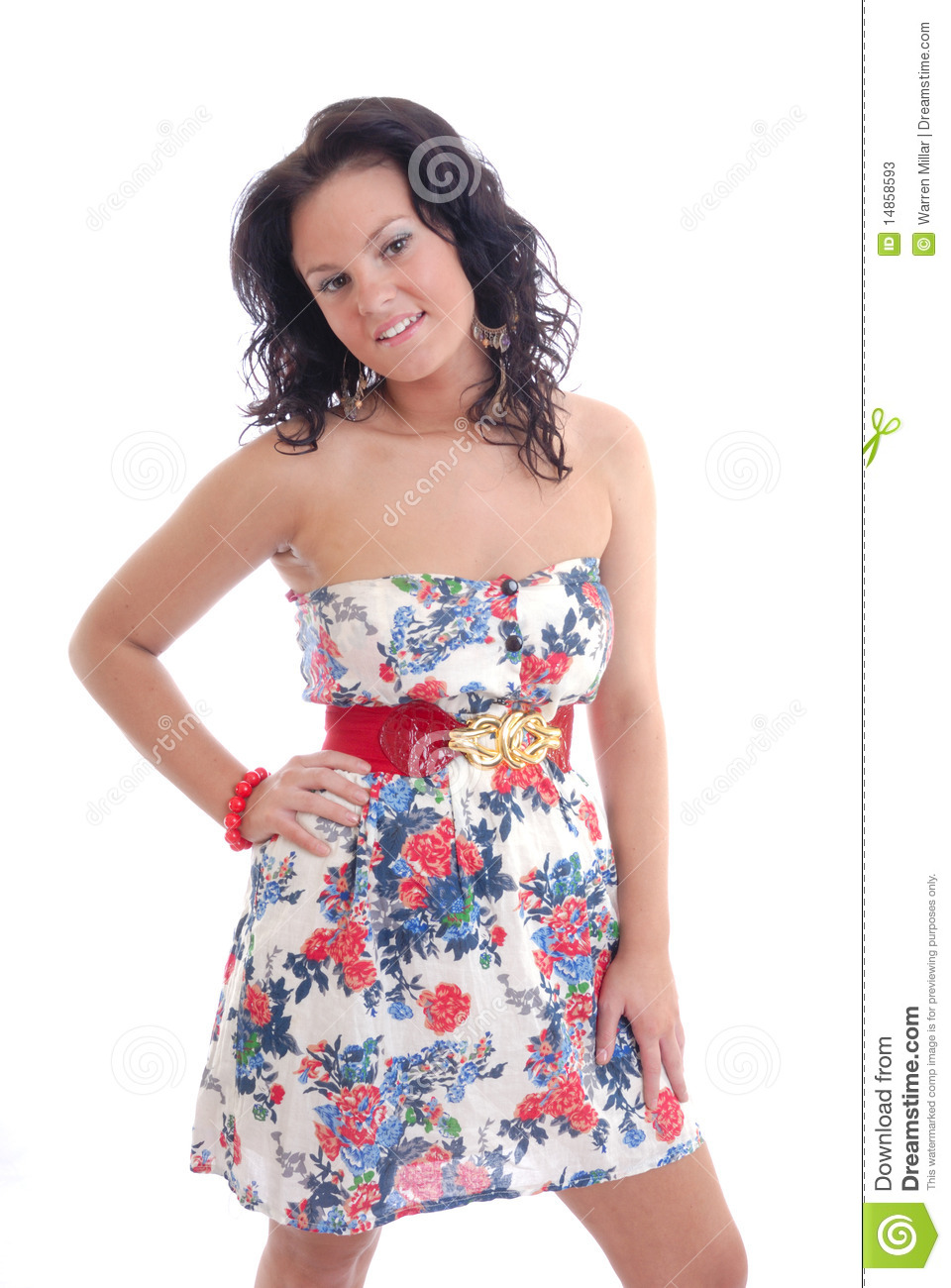 Cute young girl in floral dress
