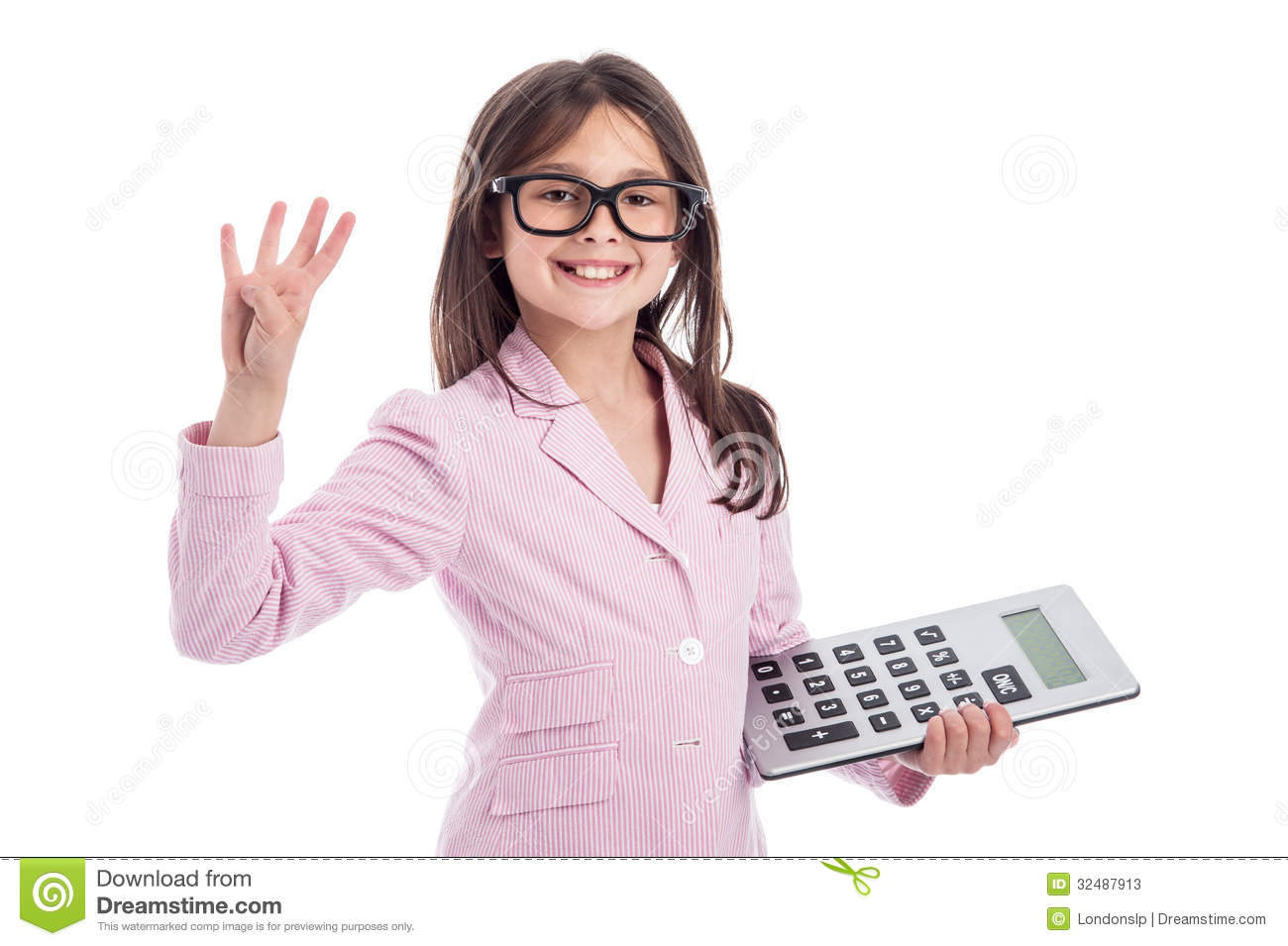 Cute Young Girl With Glasses And Calculator. Stock Image ...