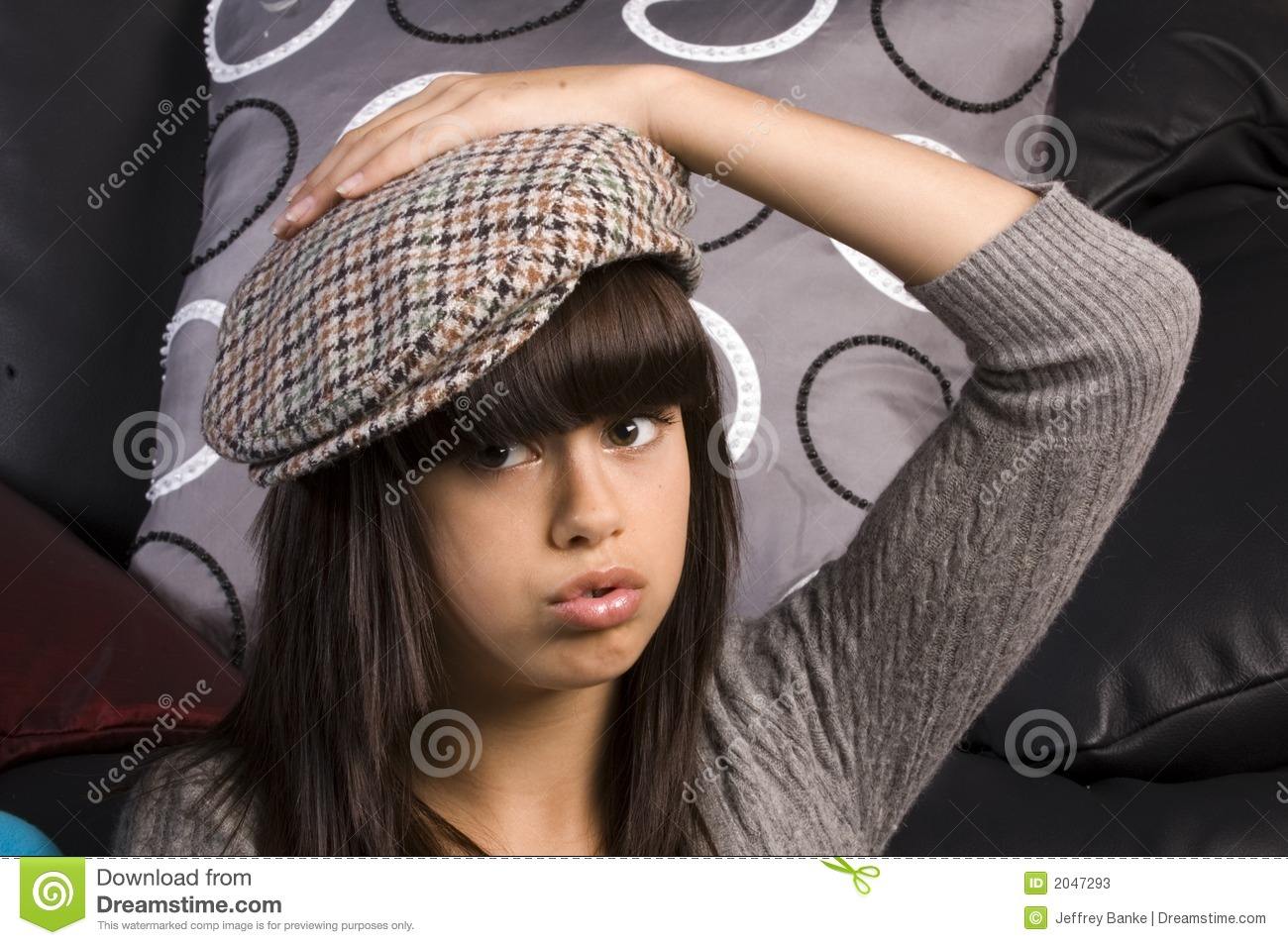 Cute young girl with hat