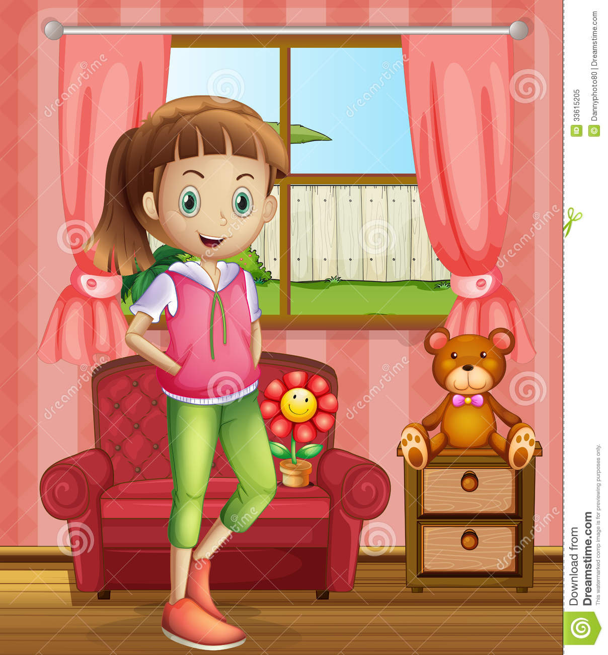 A Cute Young Girl Inside The House Royalty Free Stock ...