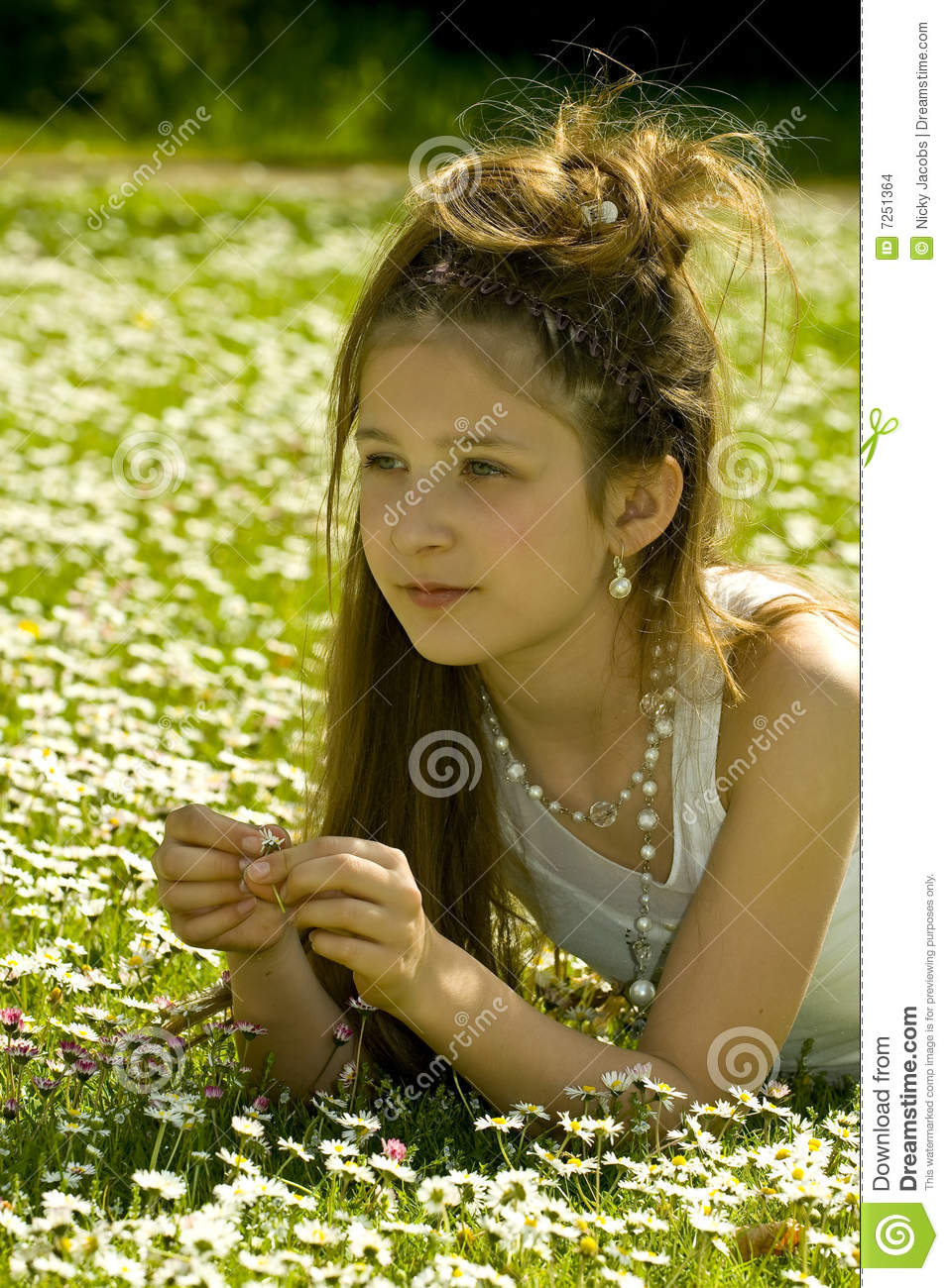young cute picking flowers park daisy preview