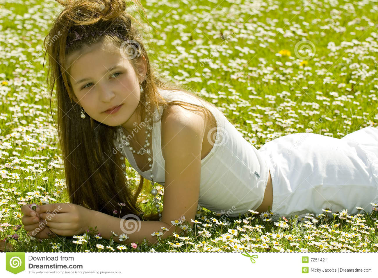 Cute young girl picking flowers stock image image 7251421 Cute teenage girls pics
