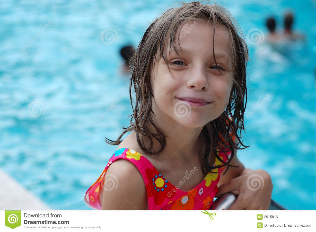 Cute young girl by pool royalty free stock image image for Cute pool pictures