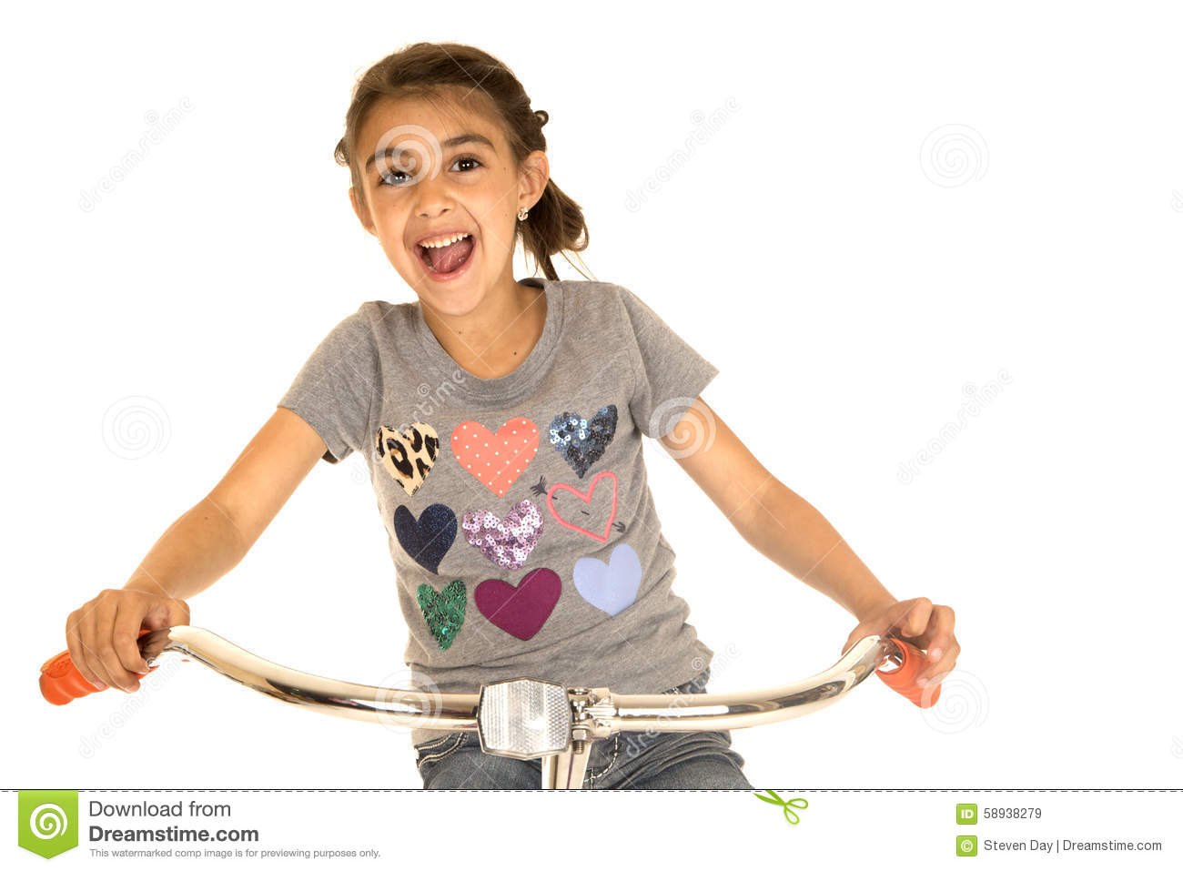 Little Girl In A White Shirt With Bicycle Royalty-Free ...