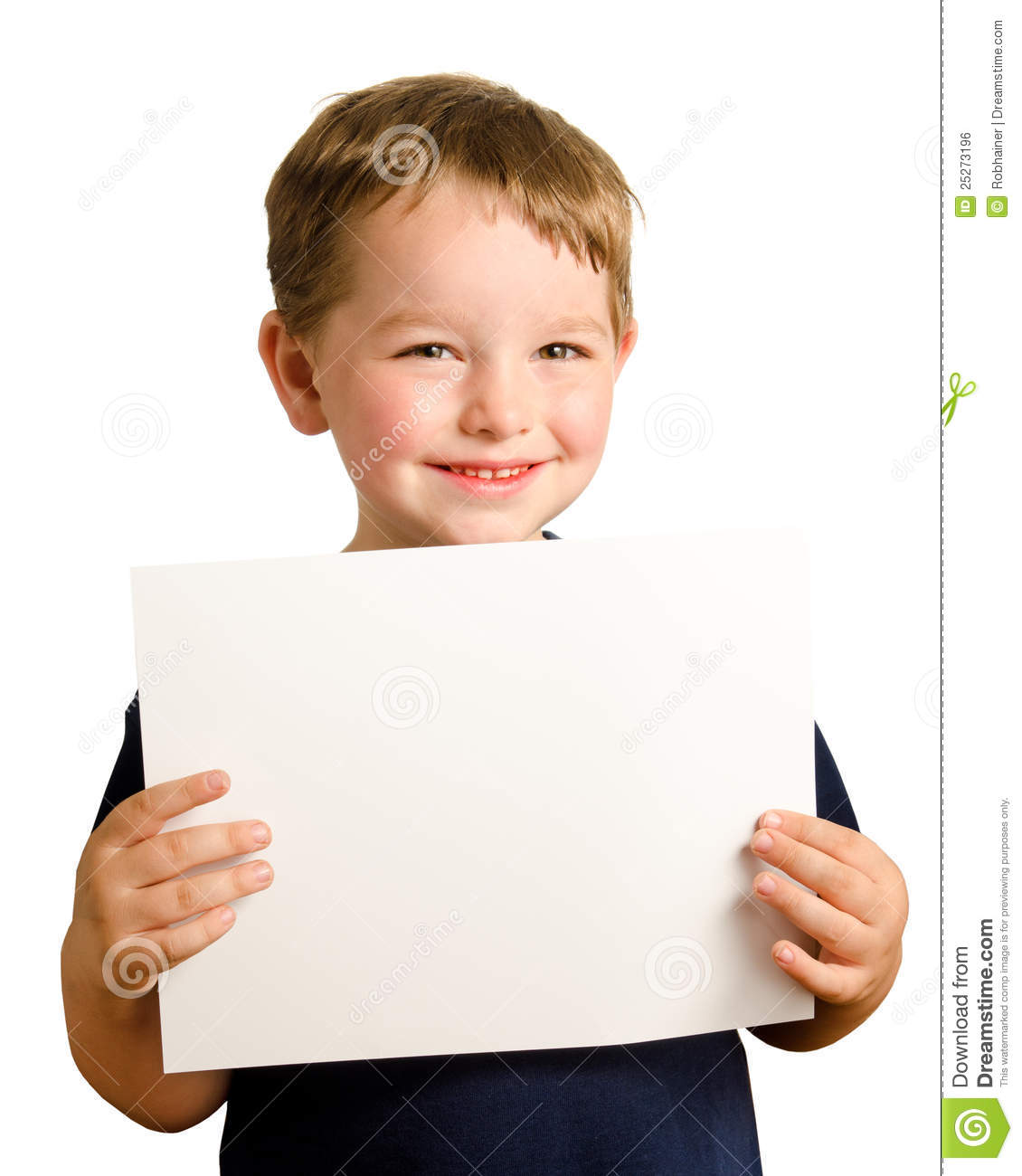 Cute young happy preschooler boy holding up sign