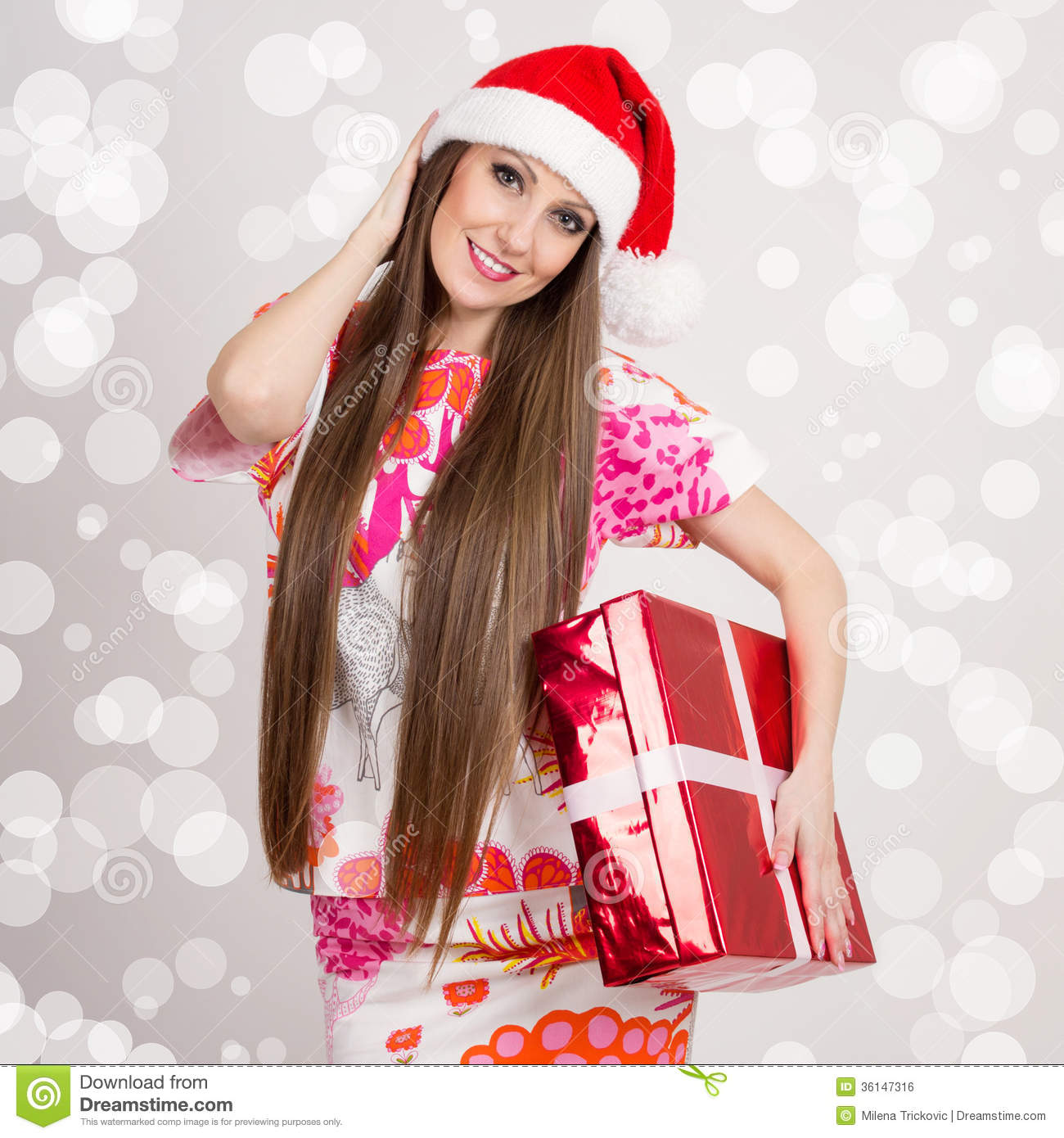 Cute Young Modern Santa Woman With Long Hair And Gift Box