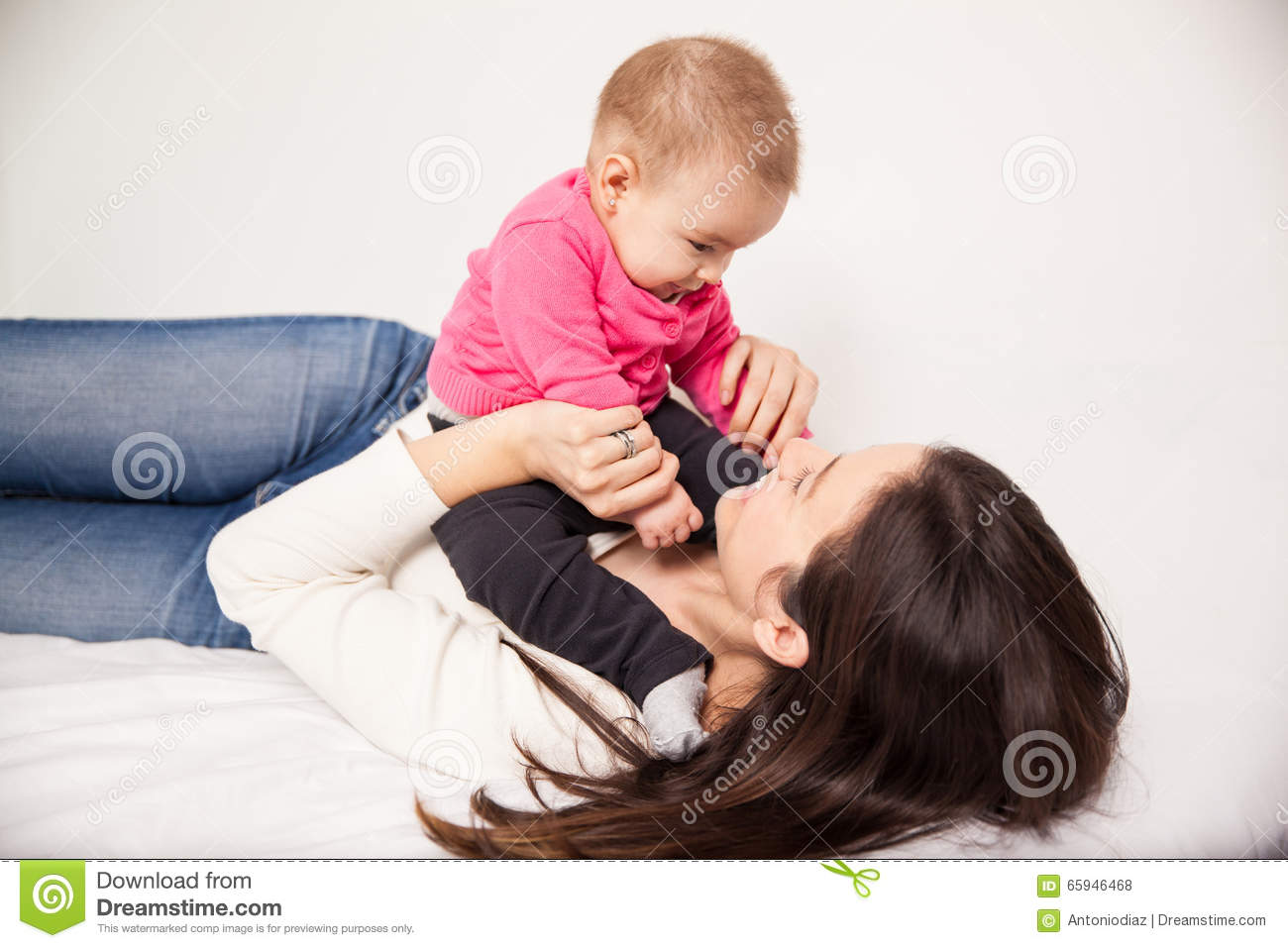 cute young mom and her baby girl stock photo image of