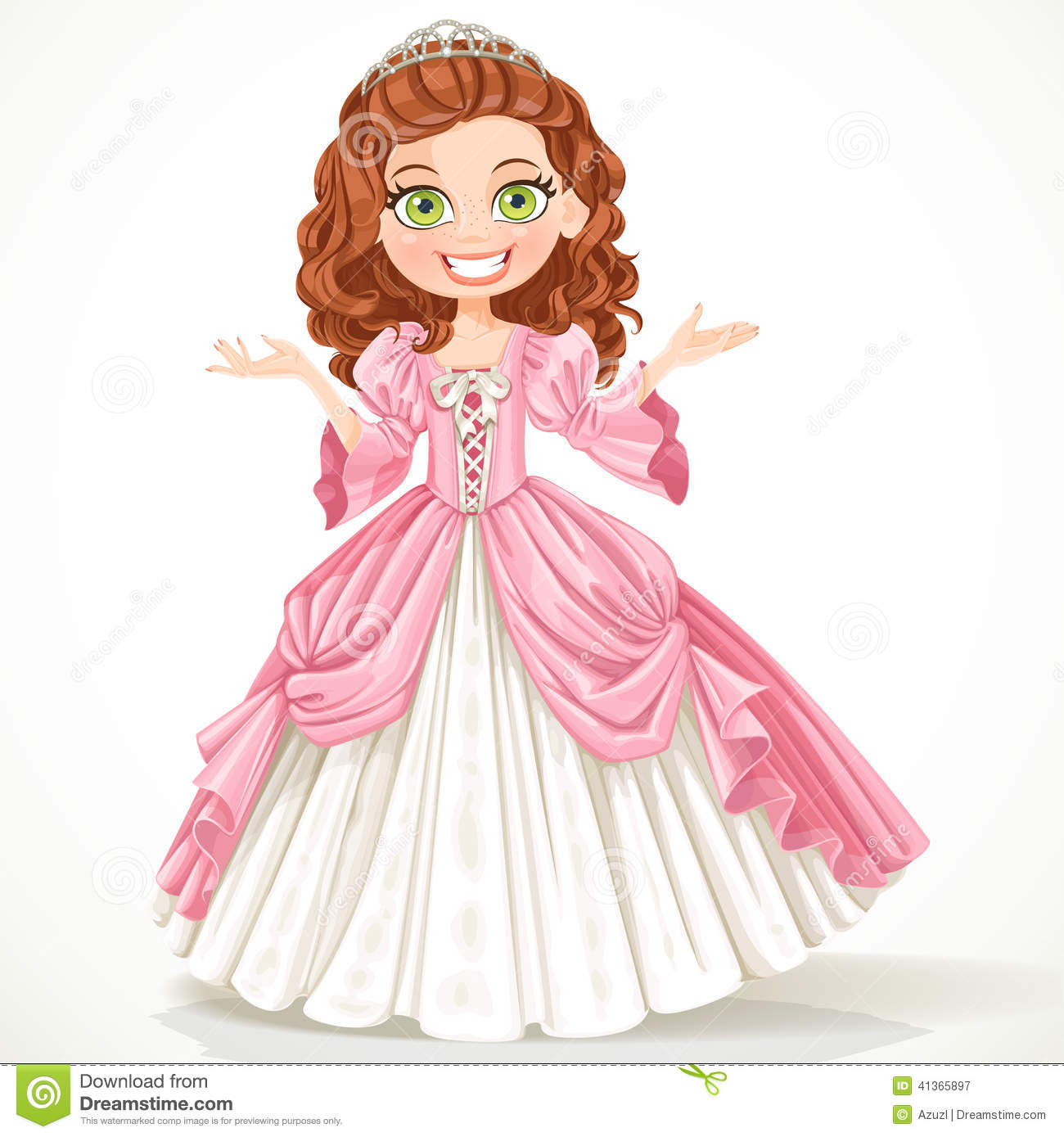 Cute Young Princess With Curly Brown Hair In A Pink Dress