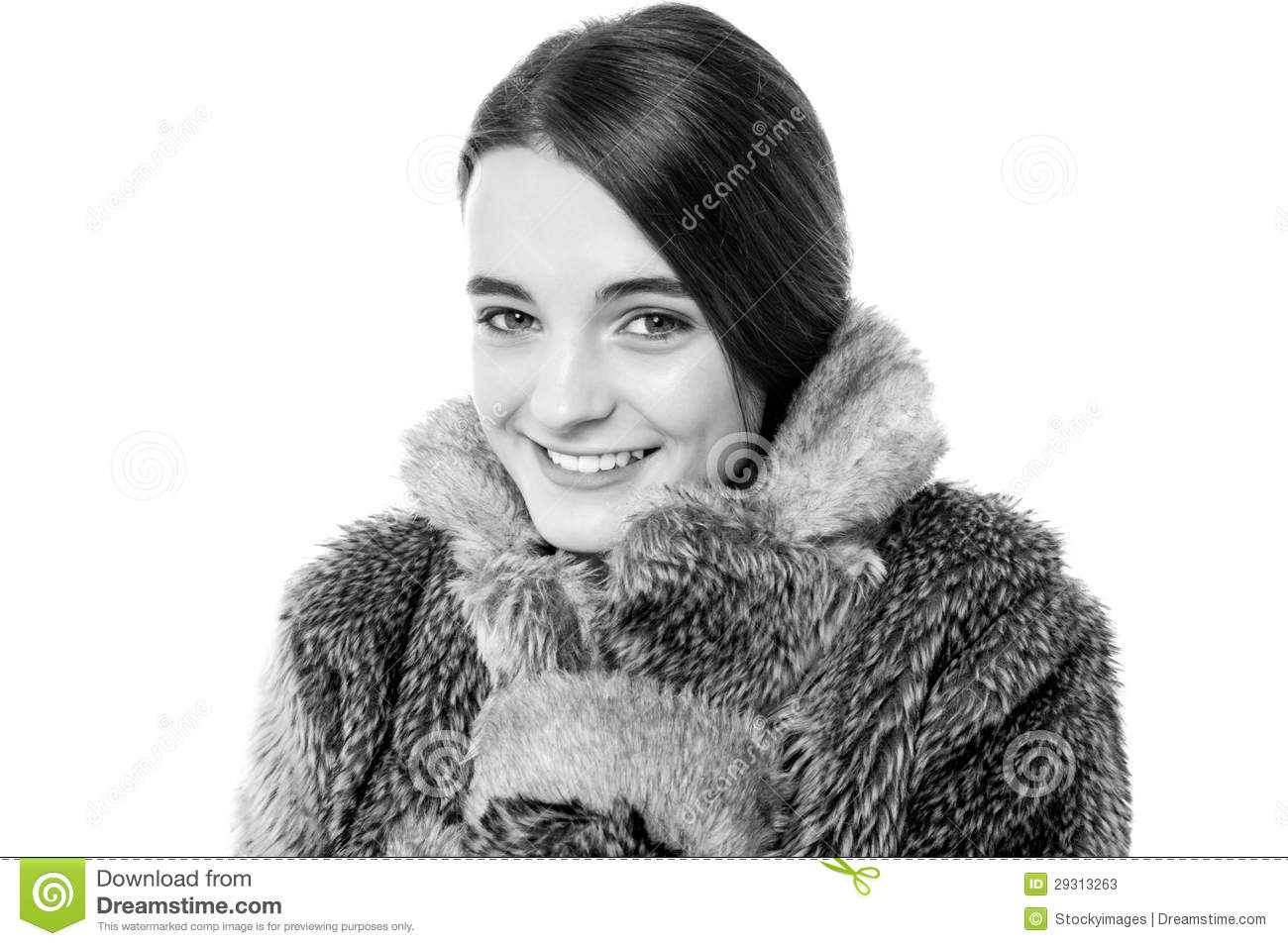 Cute young teen girl in fur jacket stock image image - Traumzimmer fur teenager ...