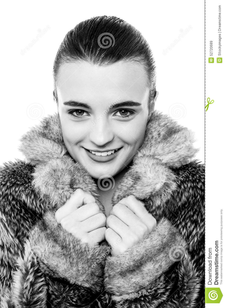 Cute young teen girl in fur jacket stock photo image - Traumzimmer fur teenager ...