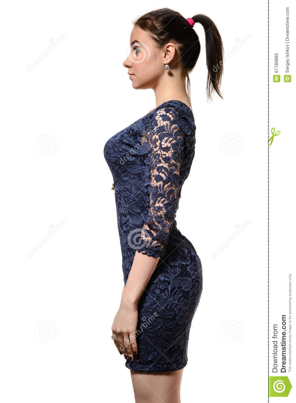 2e3600c94 Cute Young Woman In Blue Dress On White Background Stock Image ...