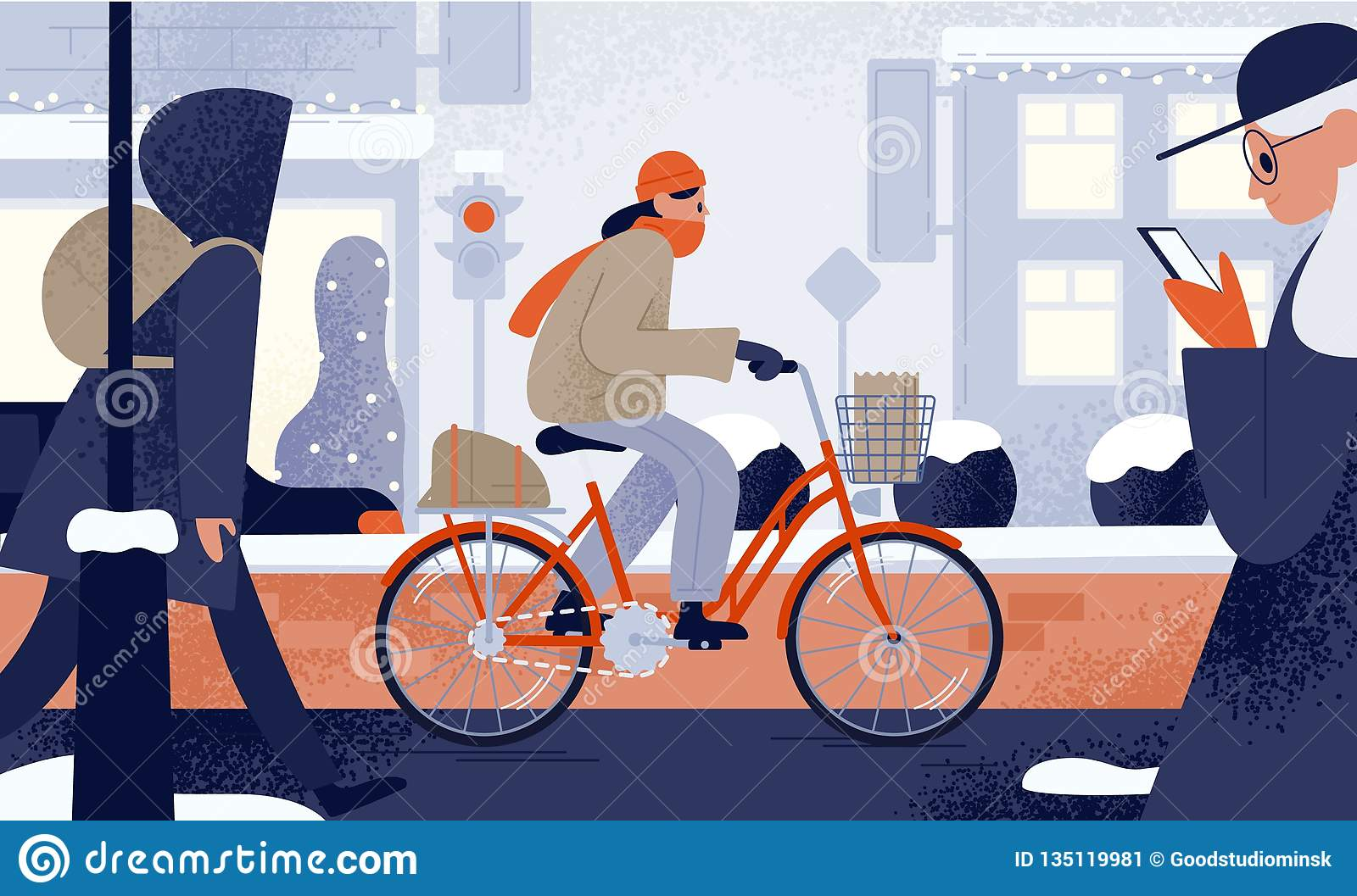 Cute young woman dressed in outerwear riding bicycle in winter. Girl cycling along snowy city street in cold weather
