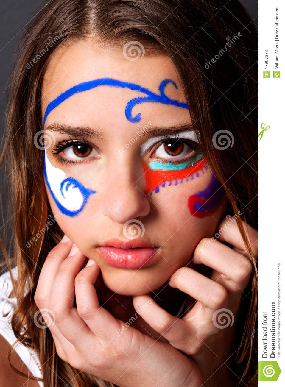 Cute Young Woman In Face Paint Royalty Free Stock Image